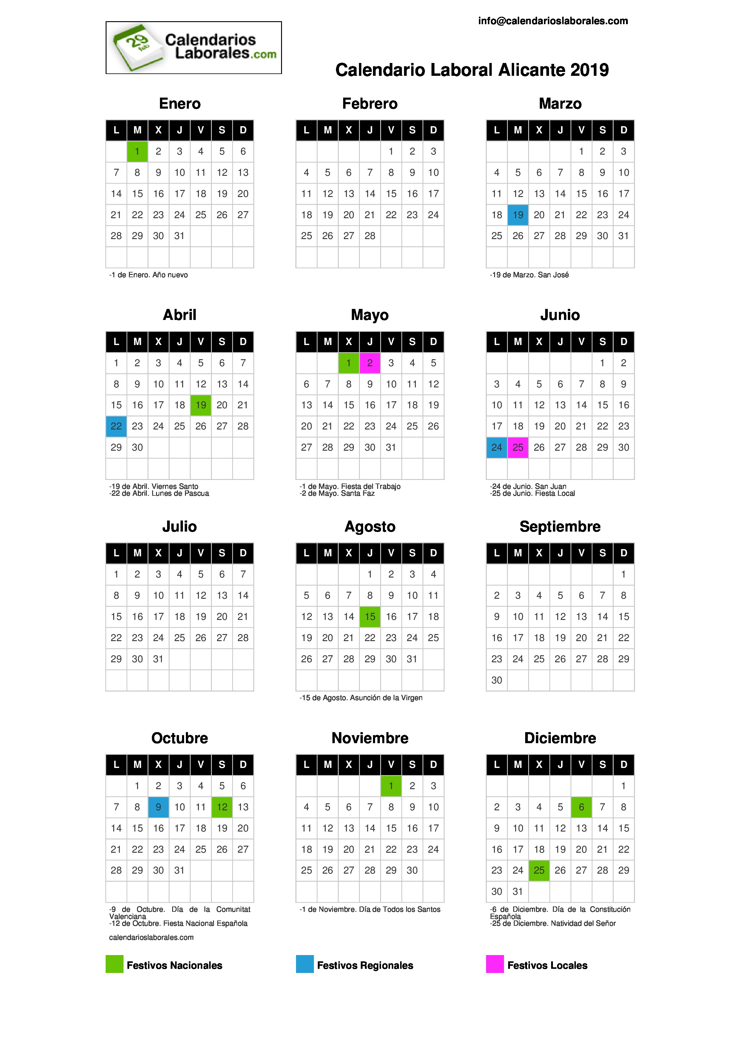 Calendario Laboral Ua.Calendario Laboral Alicante 2019