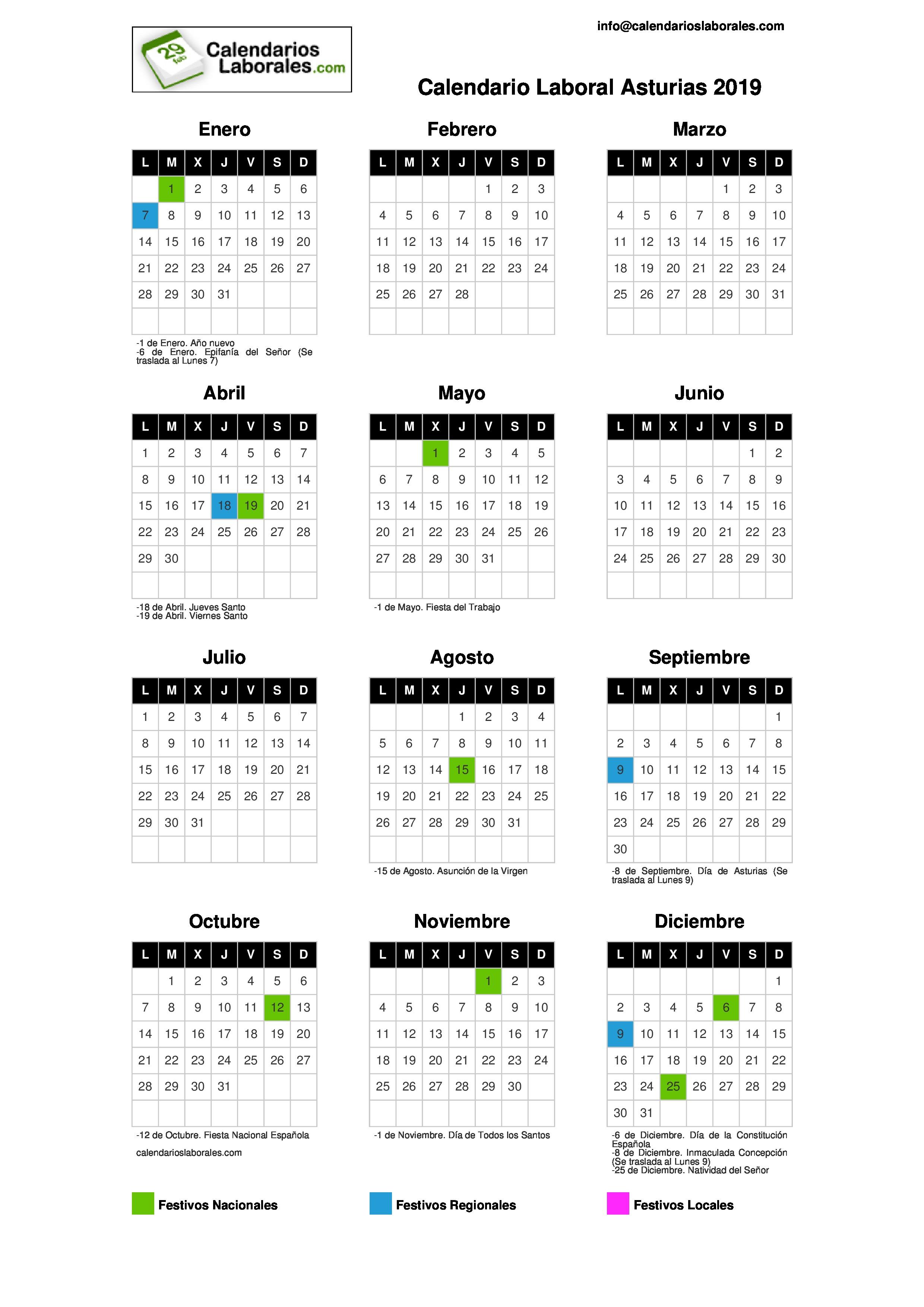 Calendario 2019 Festivos Guipuzcoa 2