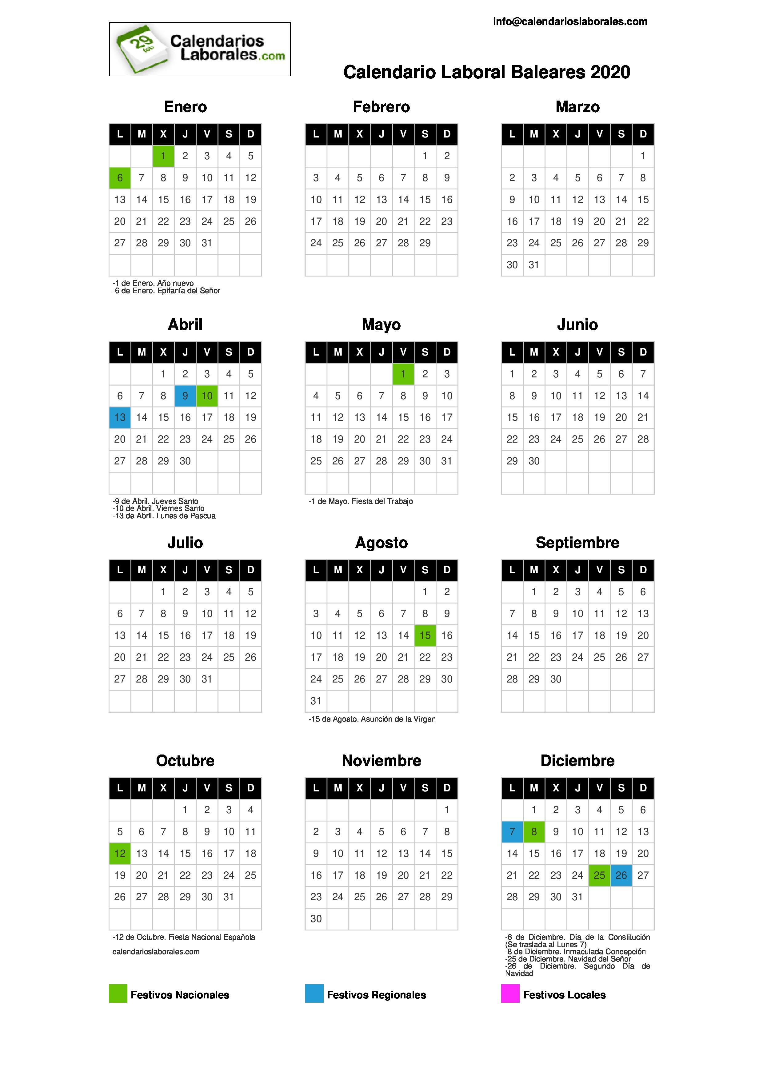 Calendario Laboral 2020 Mallorca.Calendario Laboral Baleares 2020