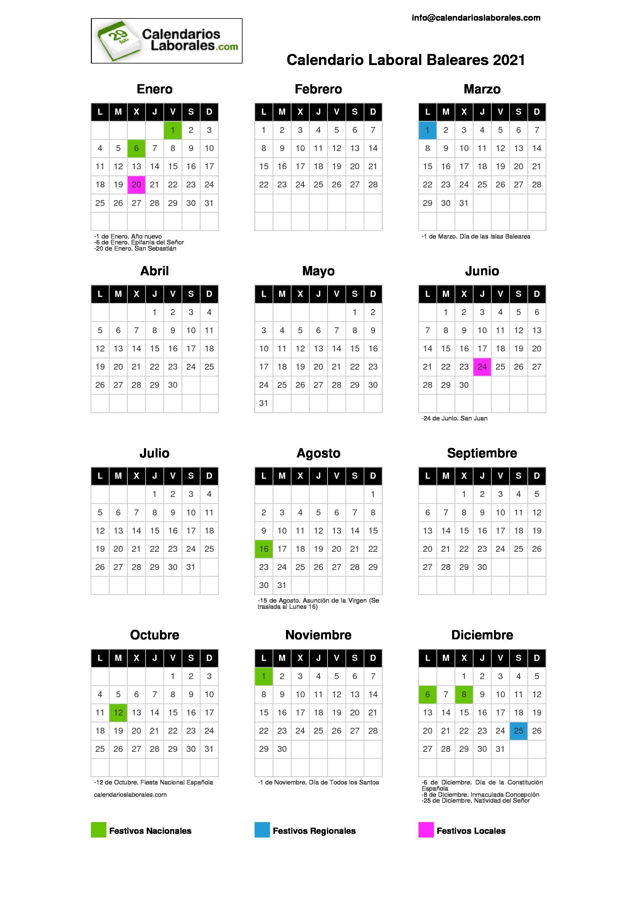Ibiza Calendario 2021 Calendario Laboral Baleares 2021
