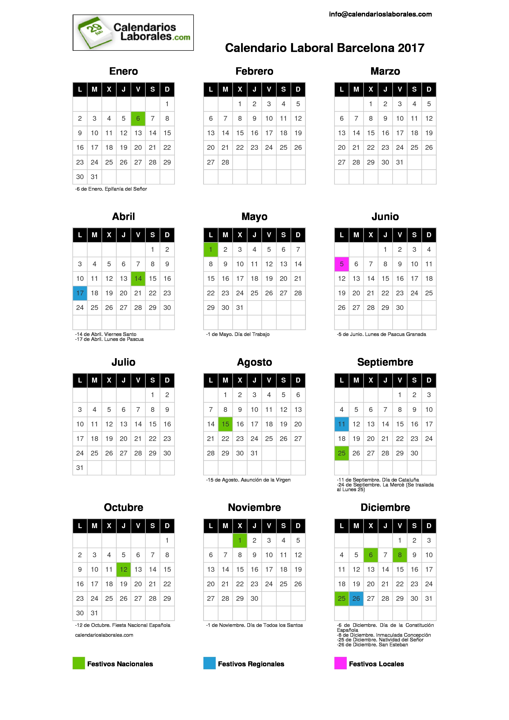 Calendario Laboral Barcelona 2017