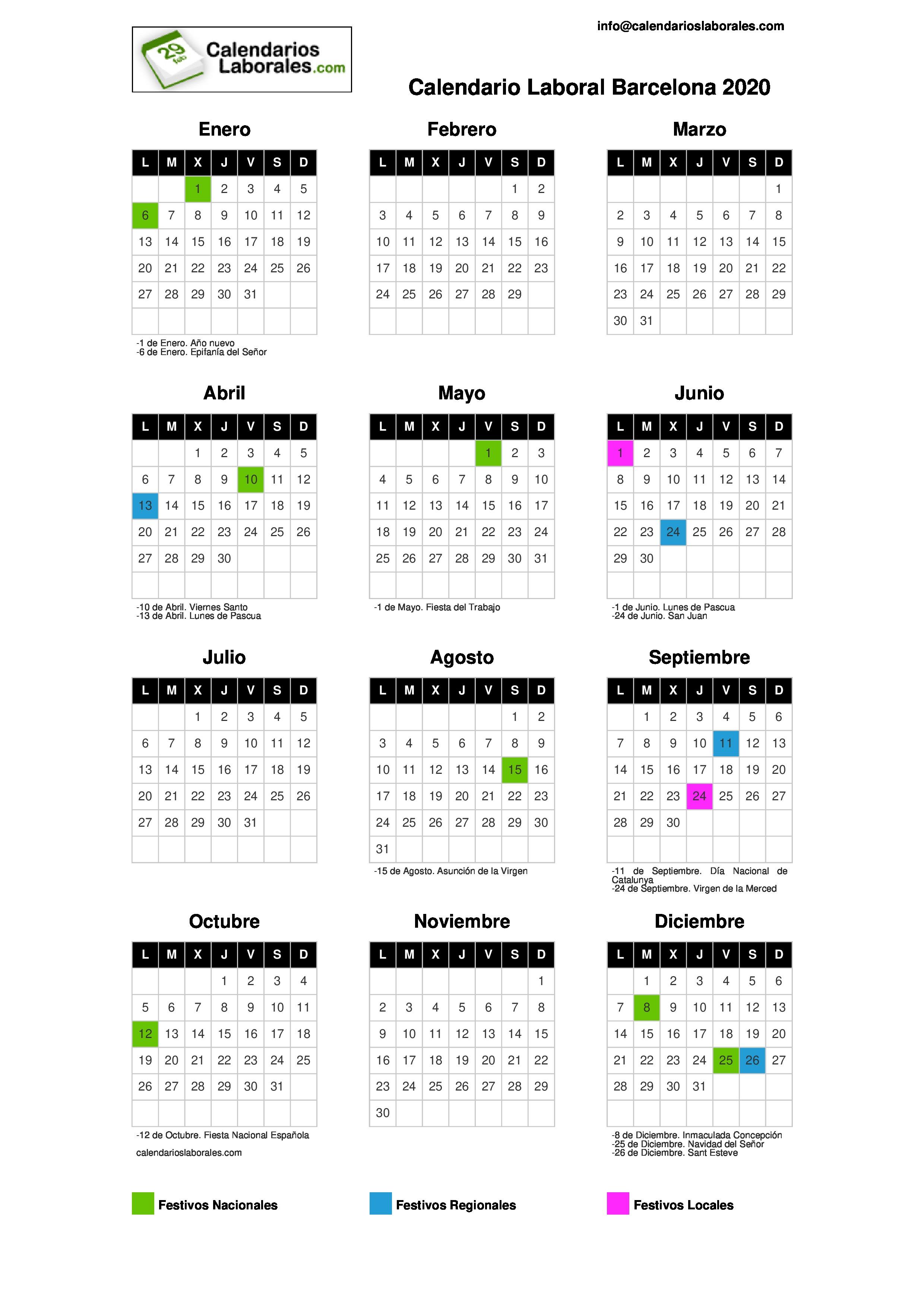 Calendario Laboral Barcelona 2020.Calendario Laboral Barcelona 2020