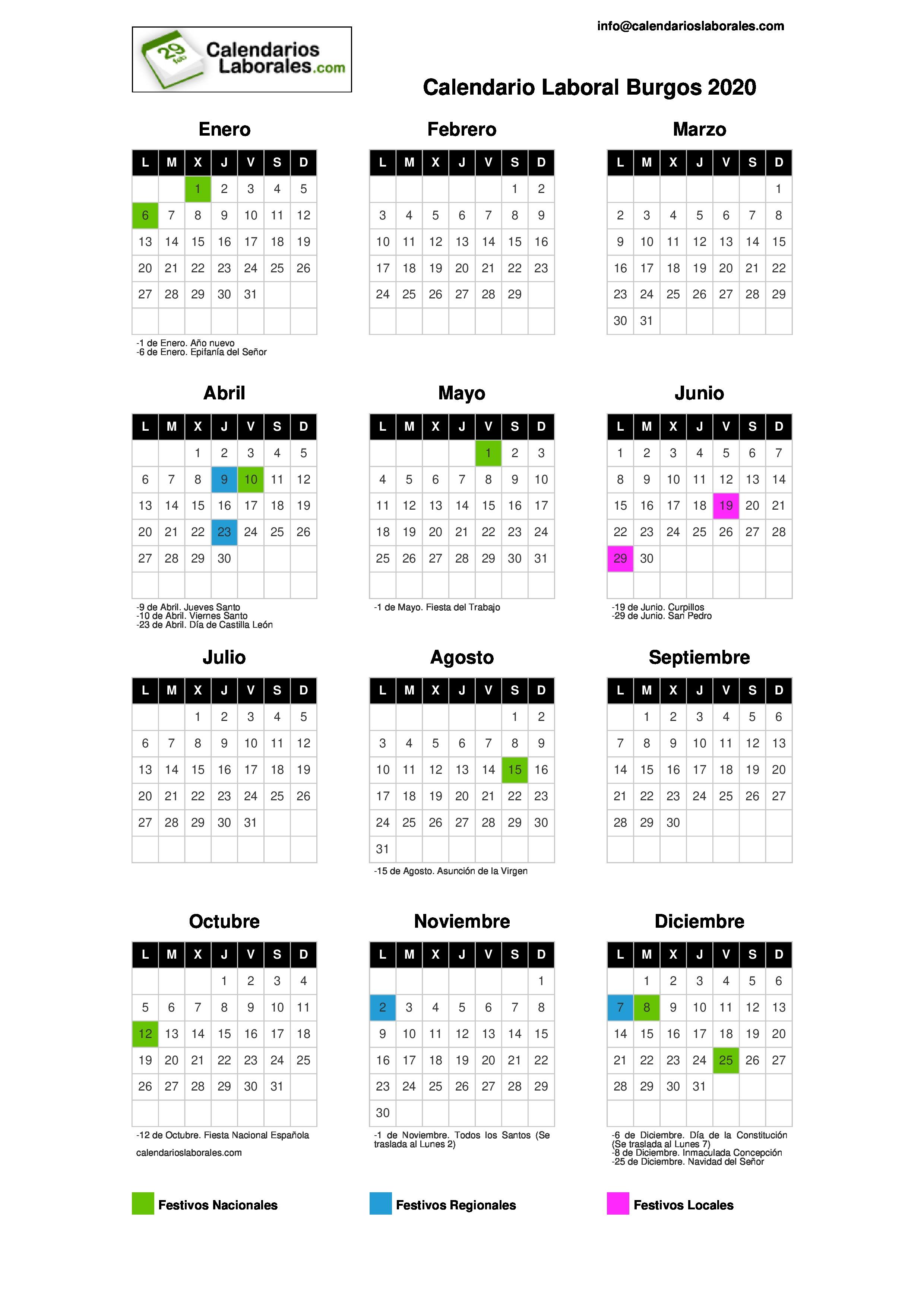 Calendario Diciembre 2020 Navideno.Calendario Laboral Burgos 2020