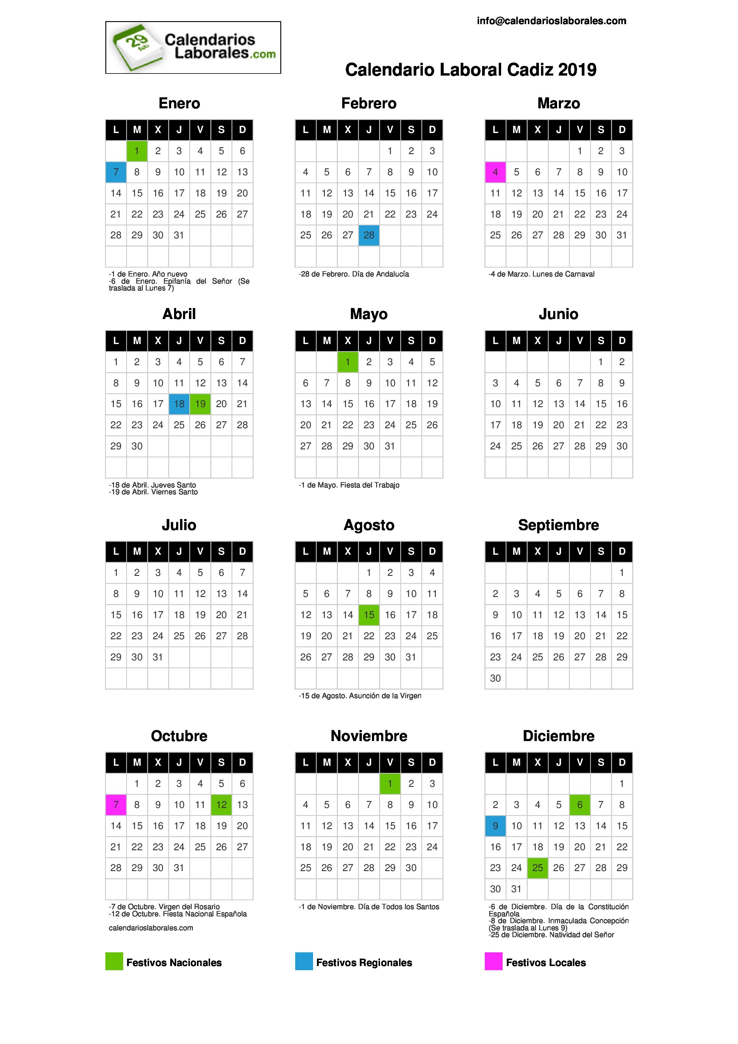 Calendario Coac 2019.Calendario Laboral Cadiz 2019