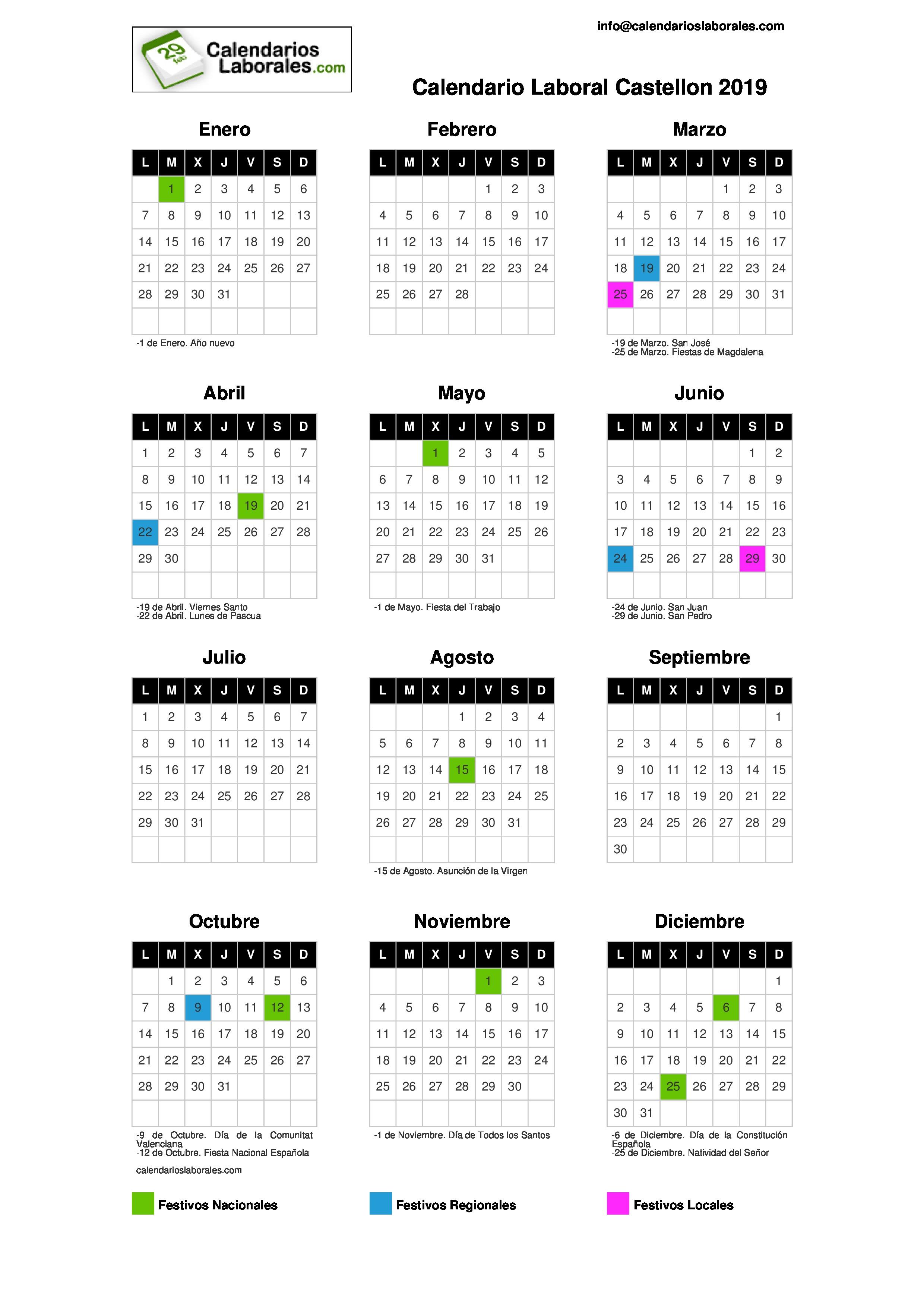 Calendario Agosto 2019 Numeros Grandes.Calendario Laboral Castellon 2019