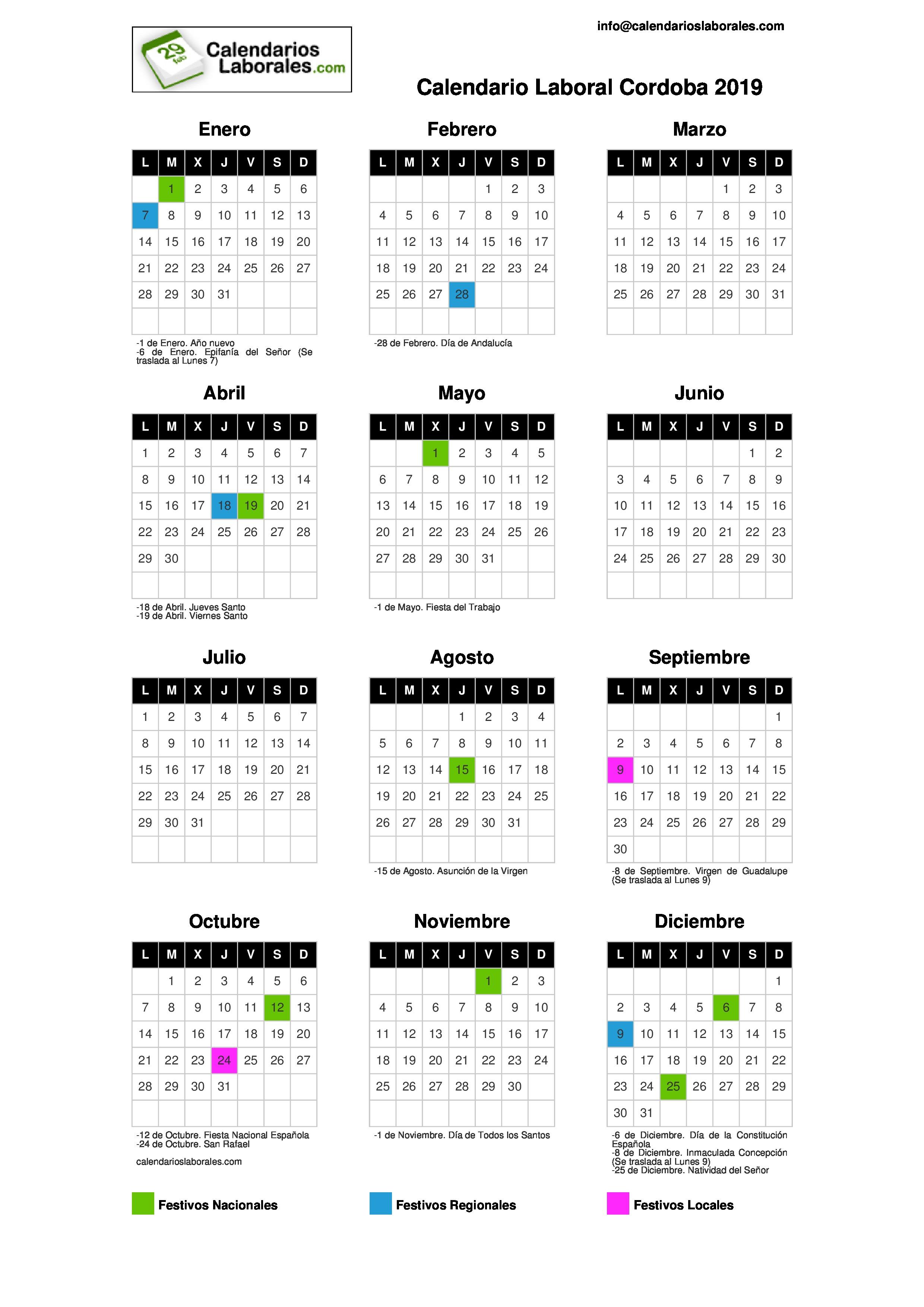 Calendario Diciembre 2019 Para Imprimir Argentina.Calendario Laboral Cordoba 2019