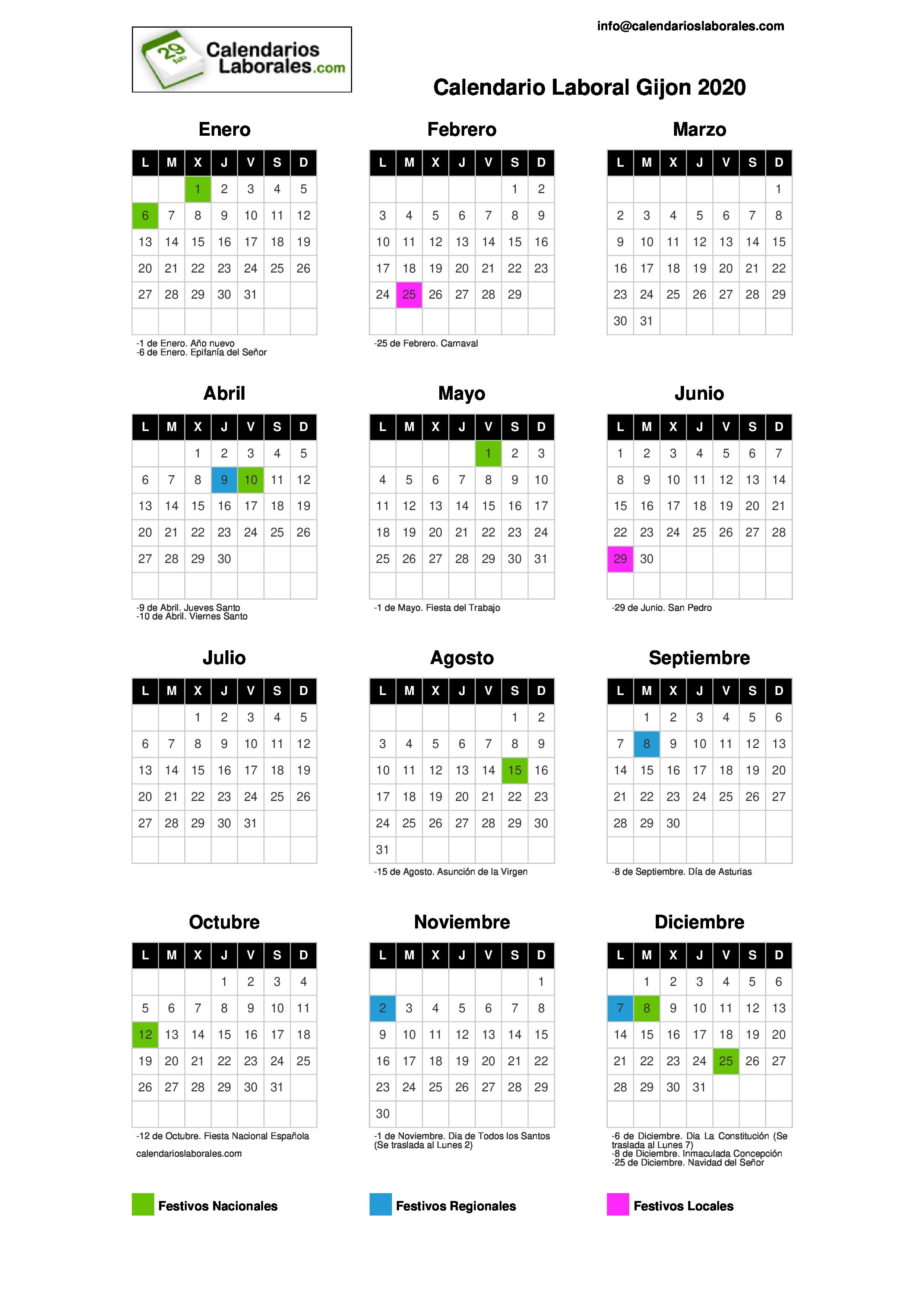 Calendario Laboral 2020 Gijon.Calendario Laboral Gijon 2020