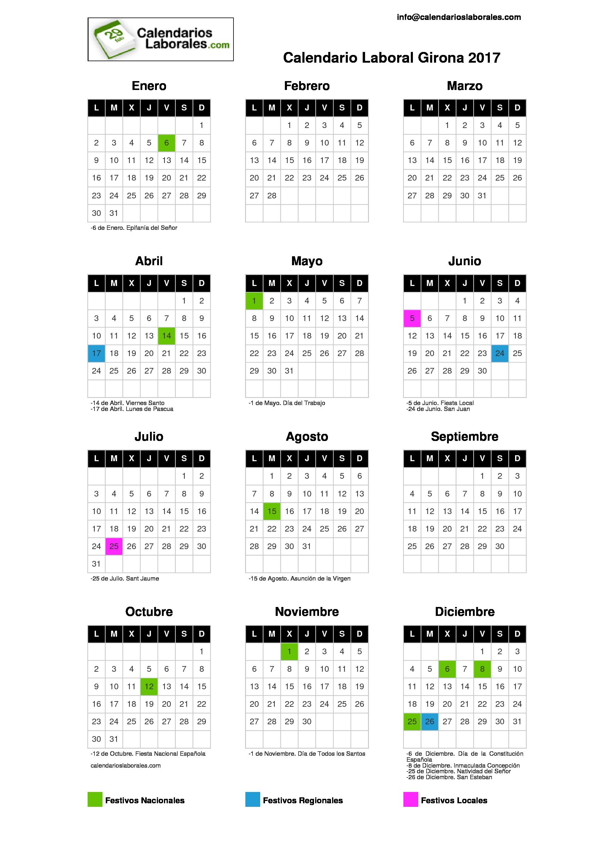 Calendario laboral girona 2017 for Festivos alicante 2017
