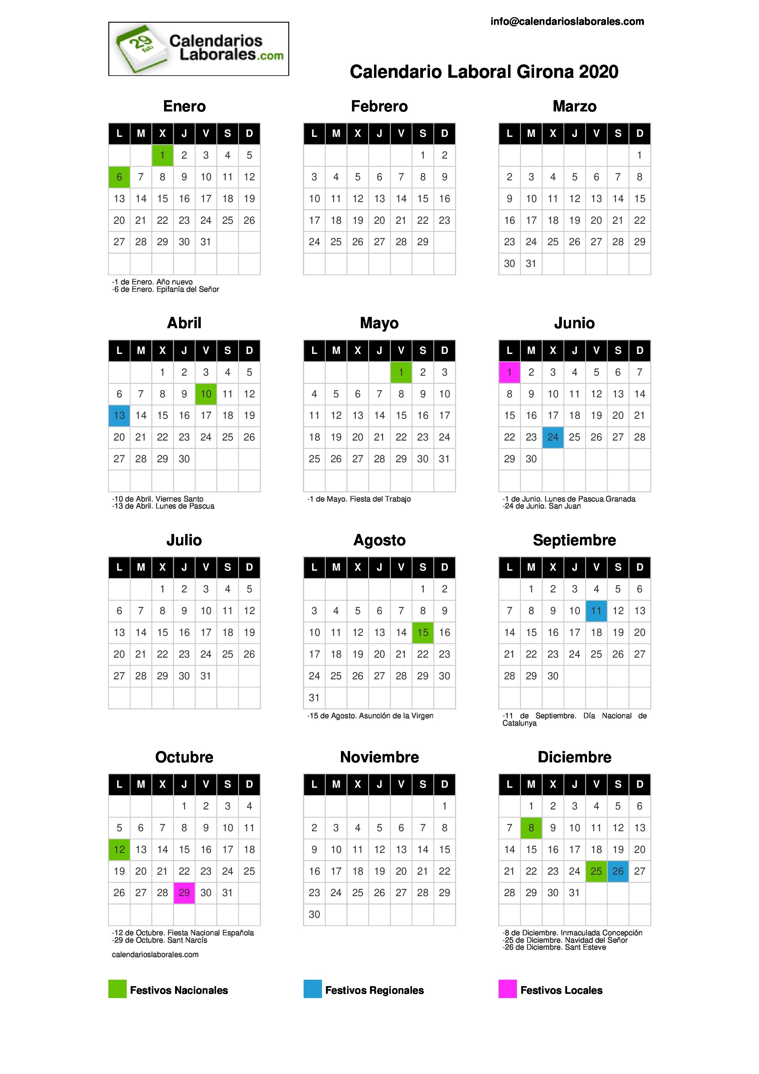 Calendario Laboral Ourense 2020.Calendario Laboral Girona 2020