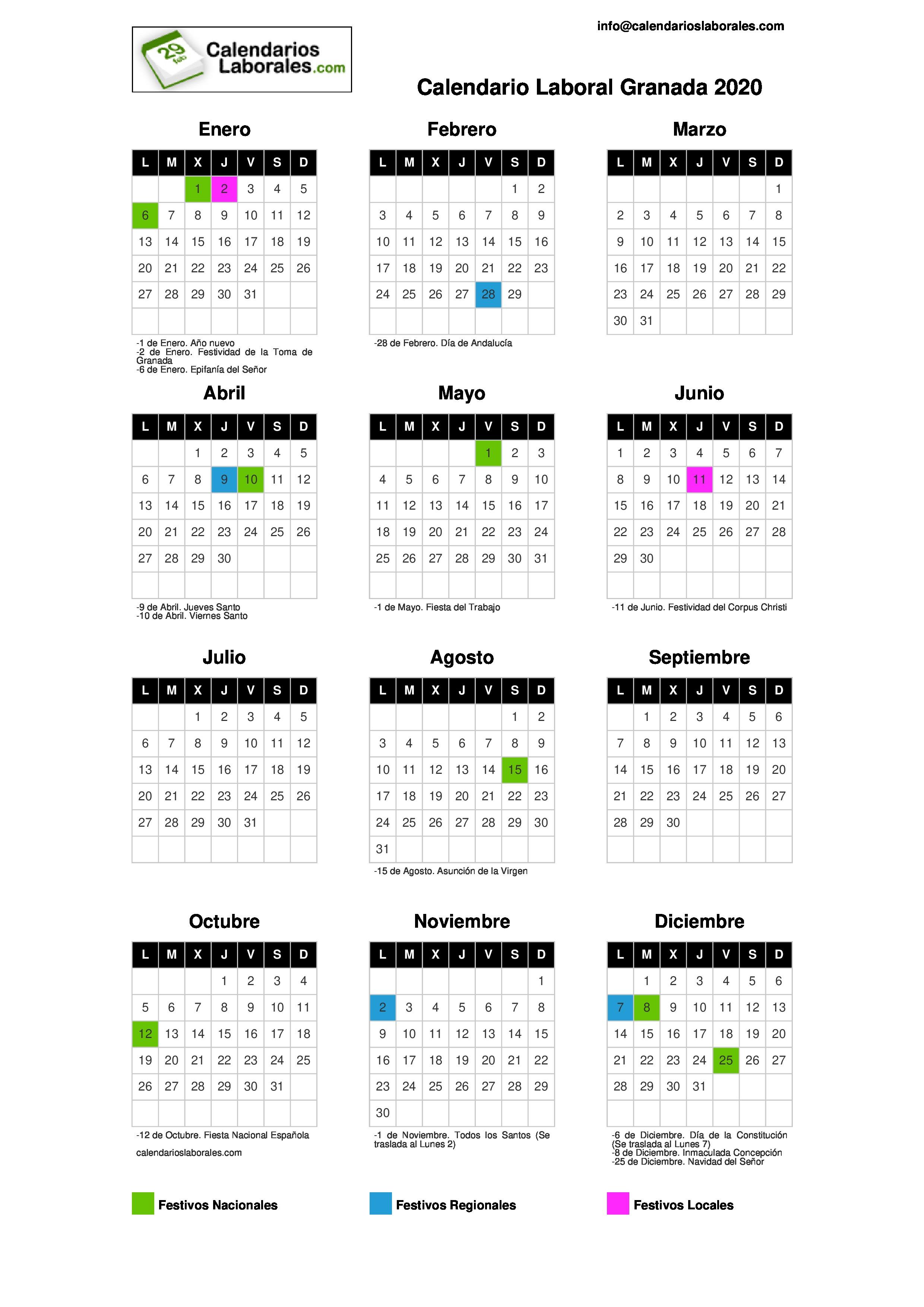 Calendario Liga Bbva 2020.Calendario Laboral Granada 2020