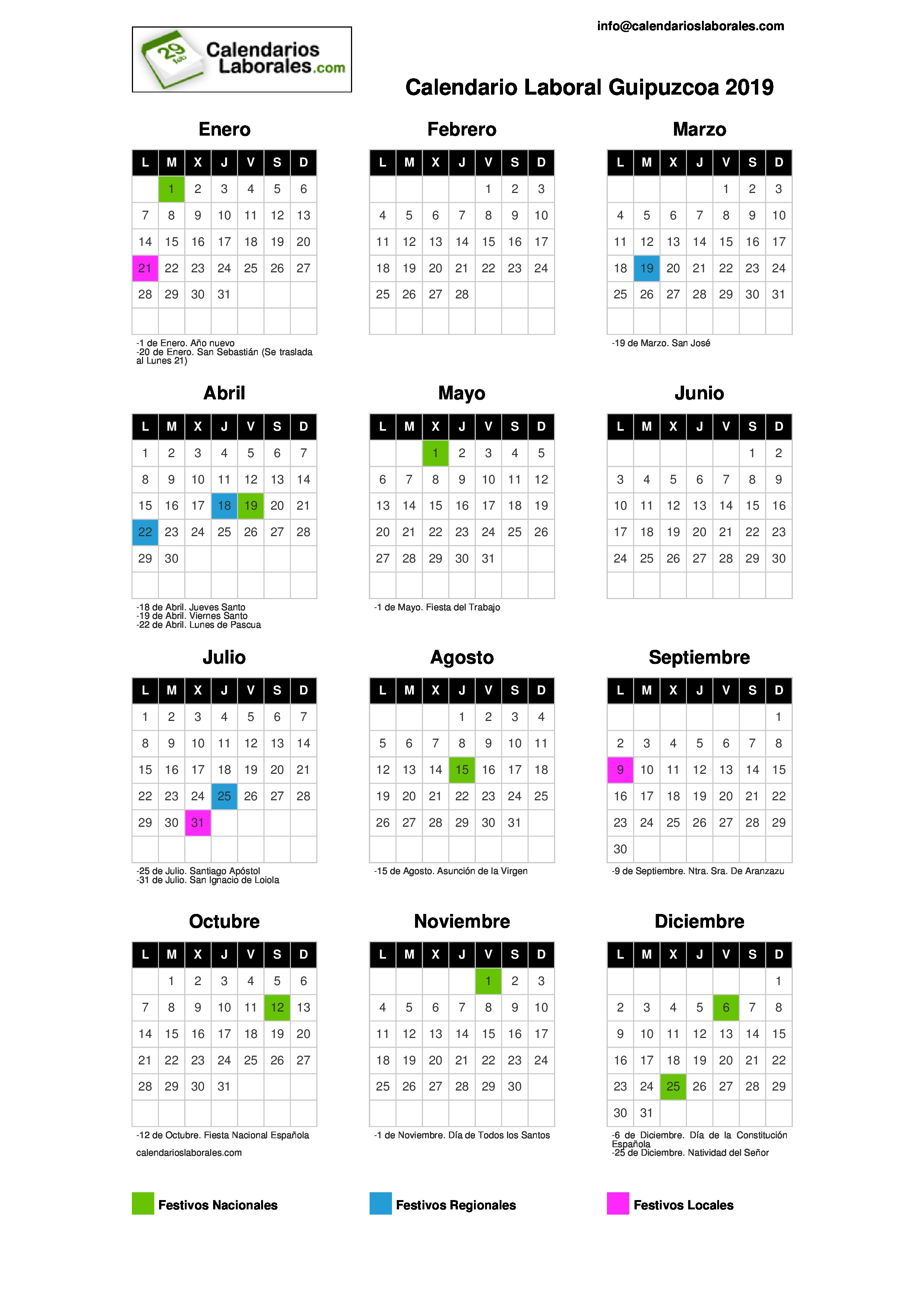 Calendario 2019 Julio Y Agosto.Calendario Laboral Guipuzcoa 2019