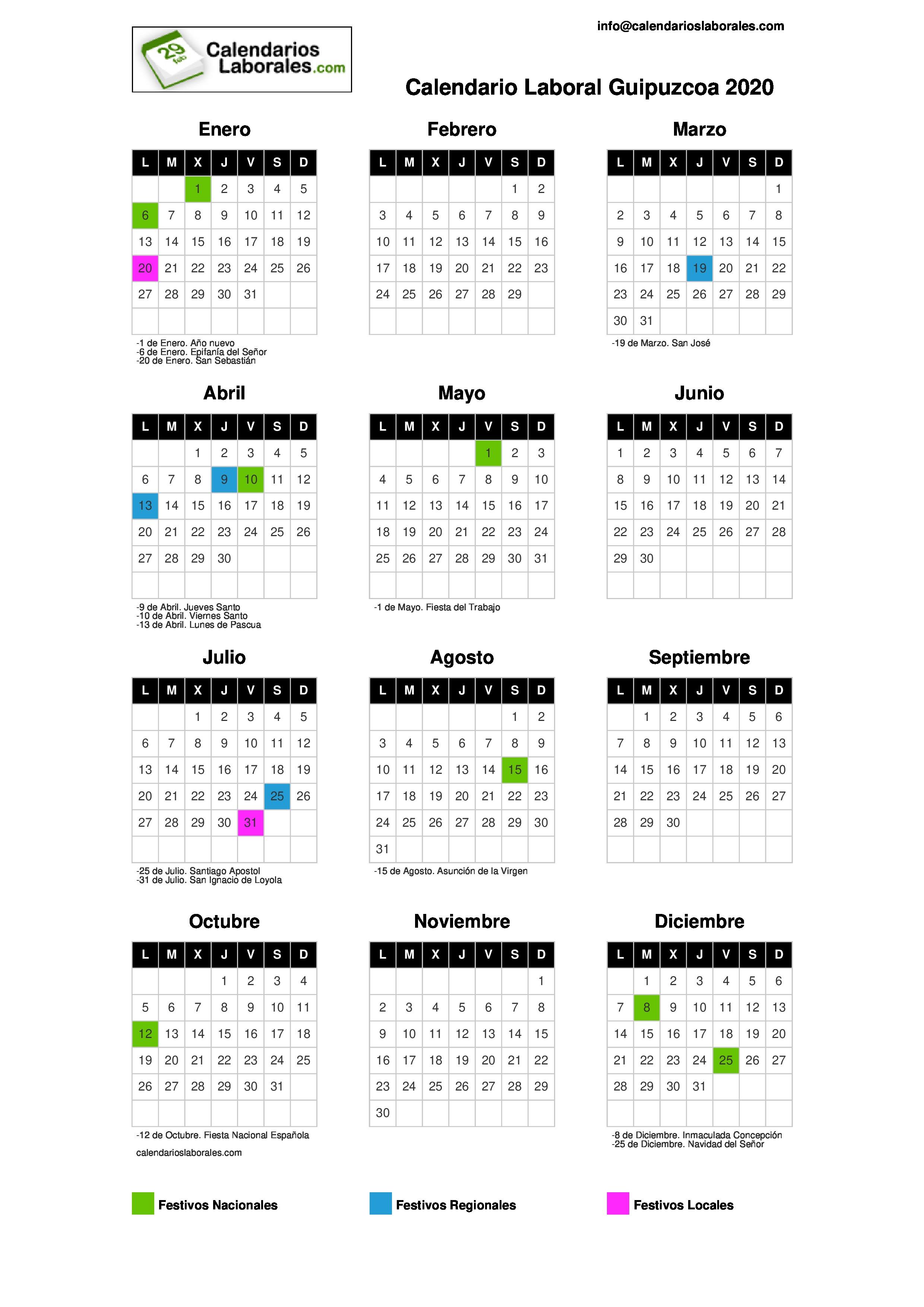 Calendario 2020 Pais Vasco.Calendario Laboral Guipuzcoa 2020