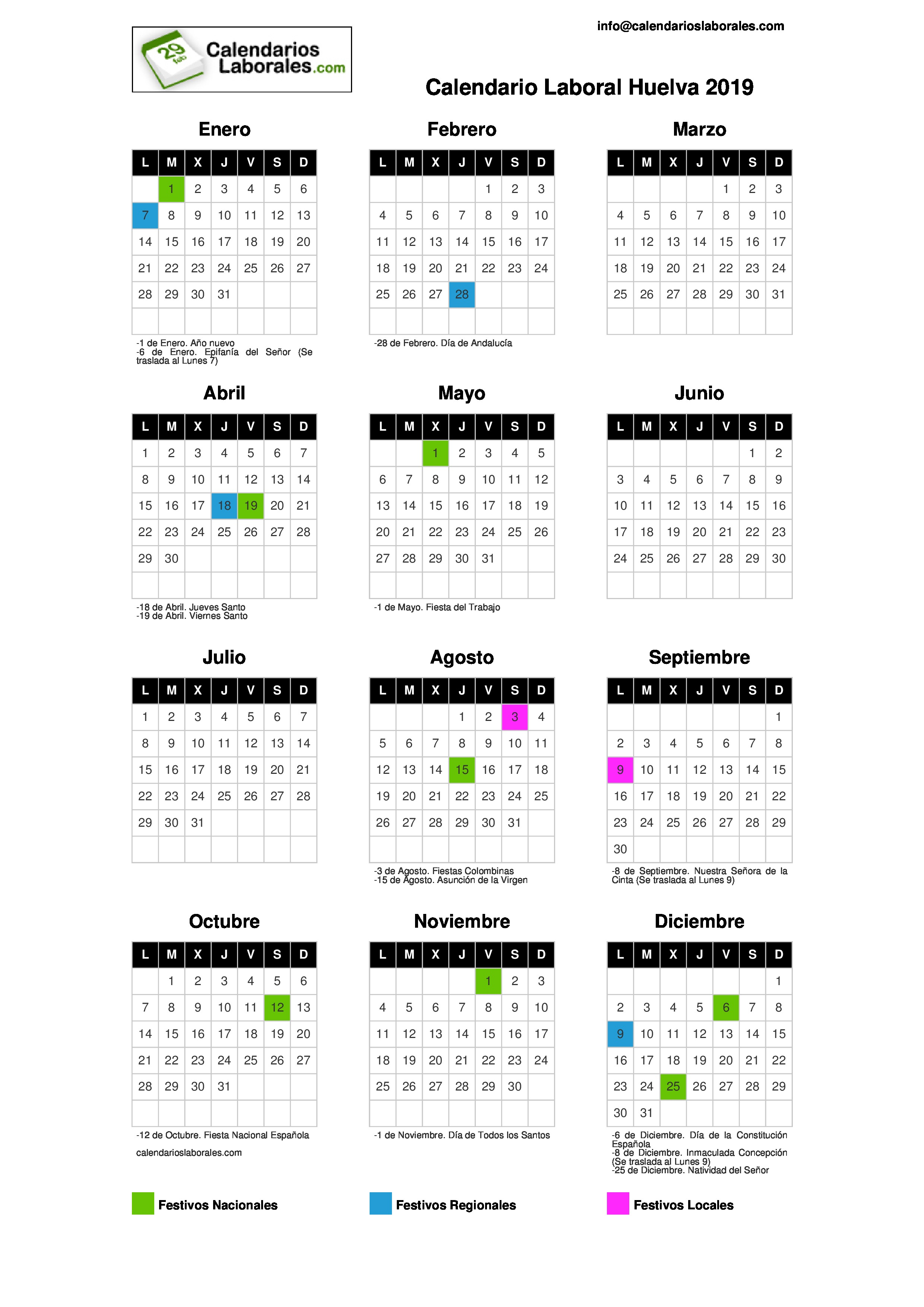 Calendario 2019 Y 2020 Con Festivos Para Colombia.Calendario Laboral Huelva 2019