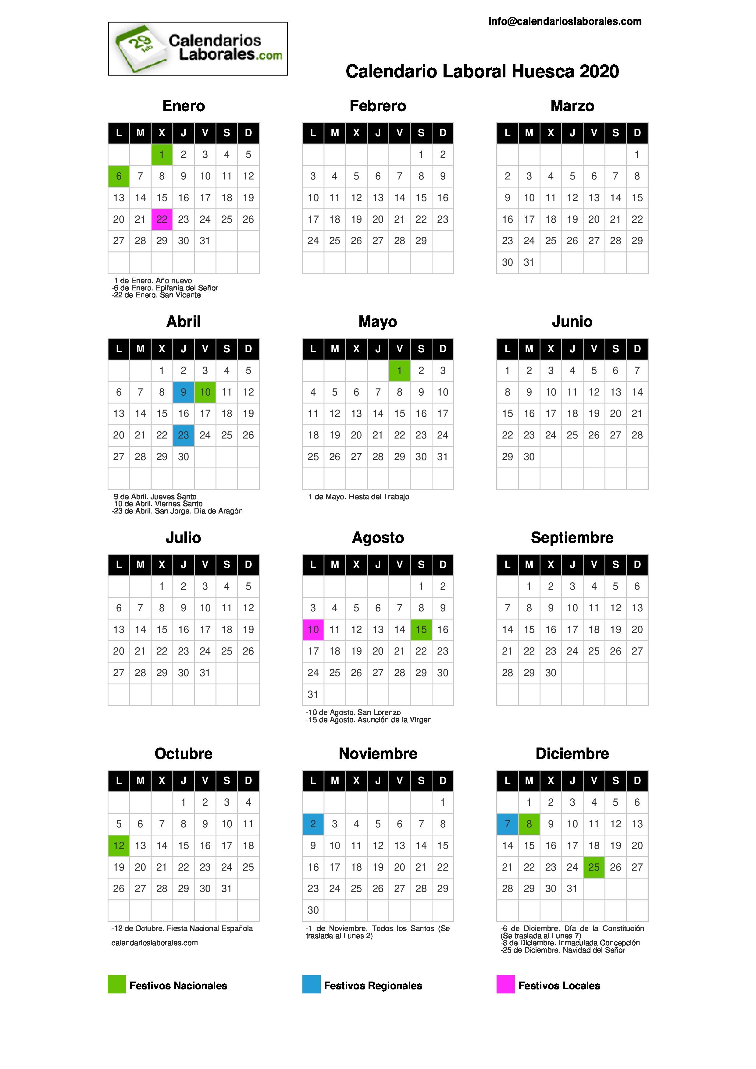 Calendario Festivi 2020.Calendario Laboral Huesca 2020