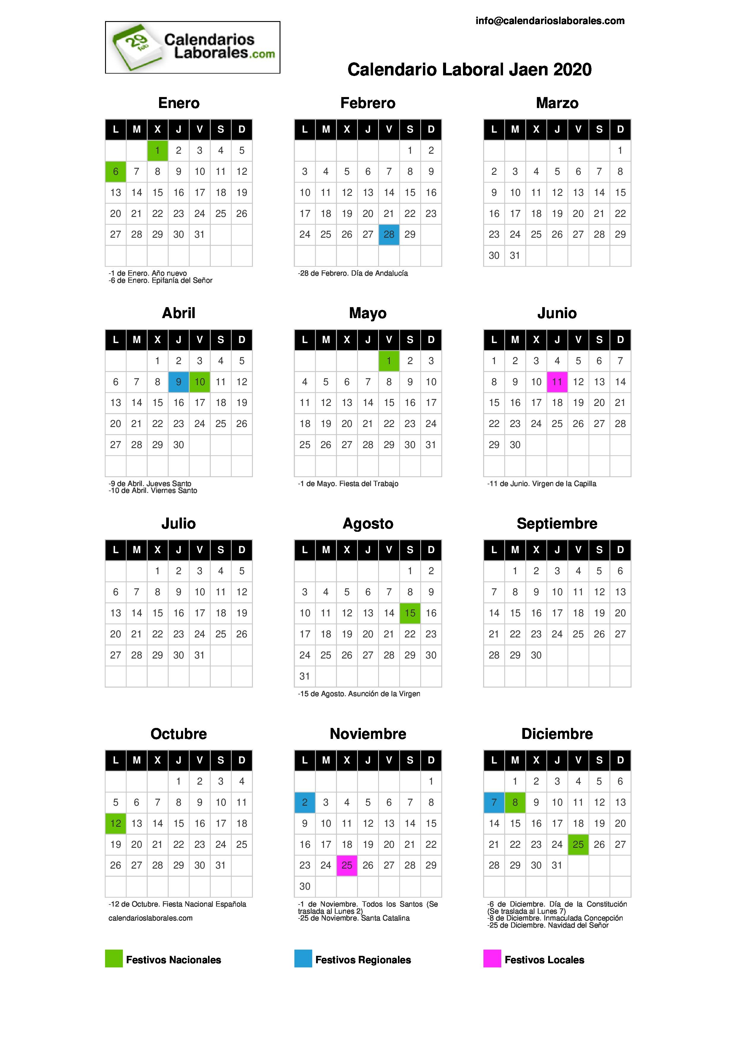 Calendario Laboral Jaen 2020.Calendario Laboral Jaen 2020