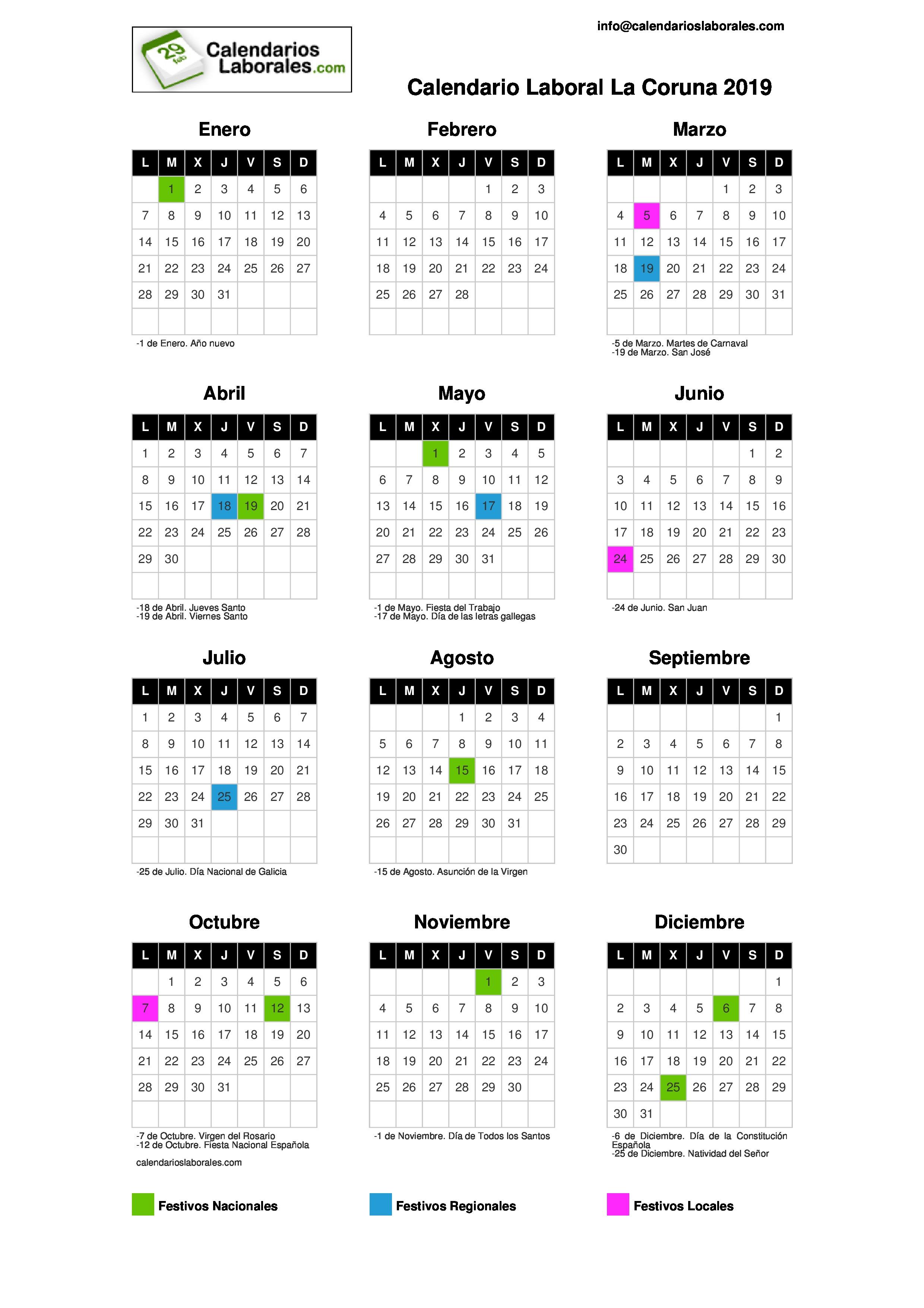 Calendario Santoral 2019.Calendario Laboral Coruna La 2019