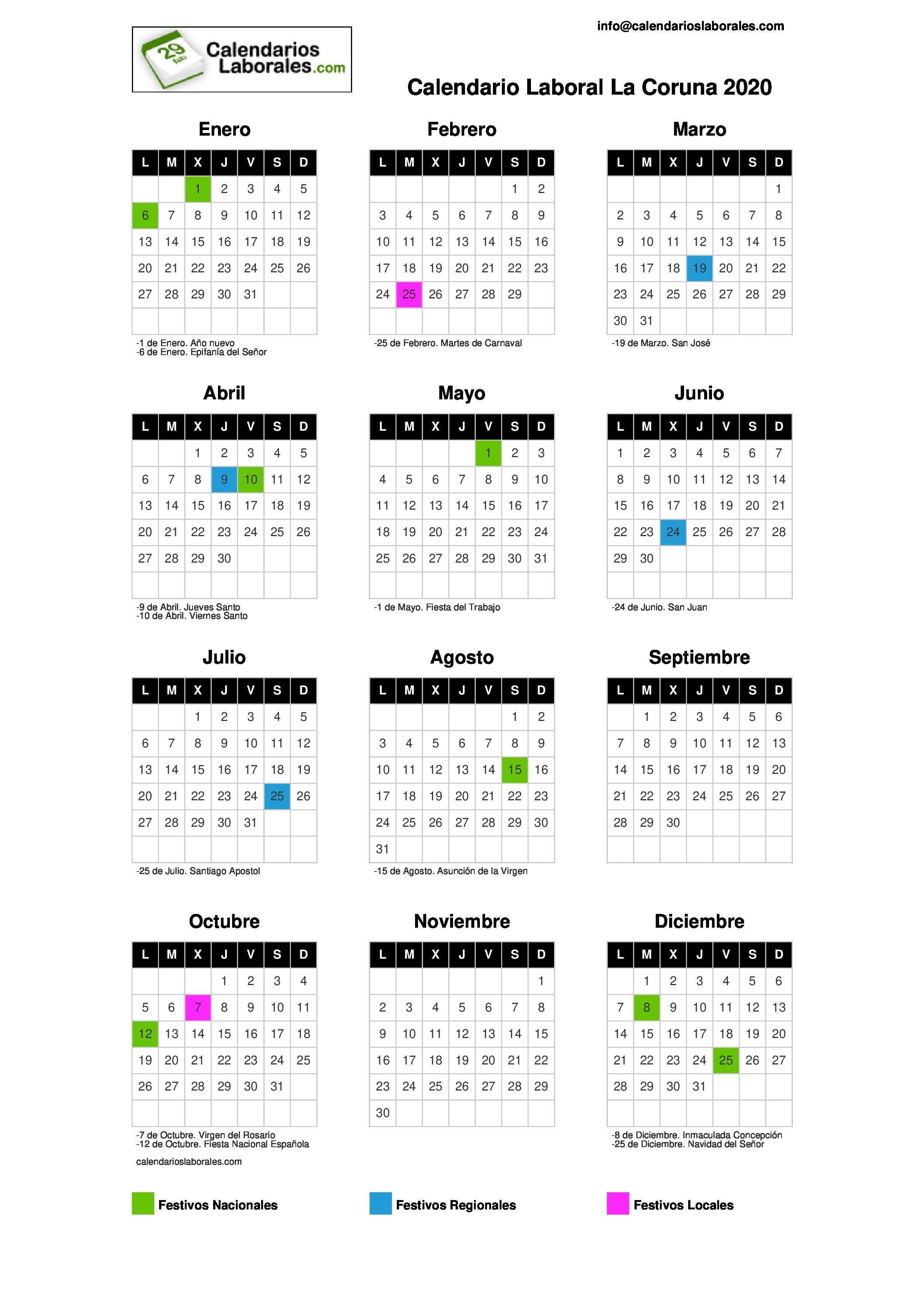 Calendario Laboral Coruña La 2020