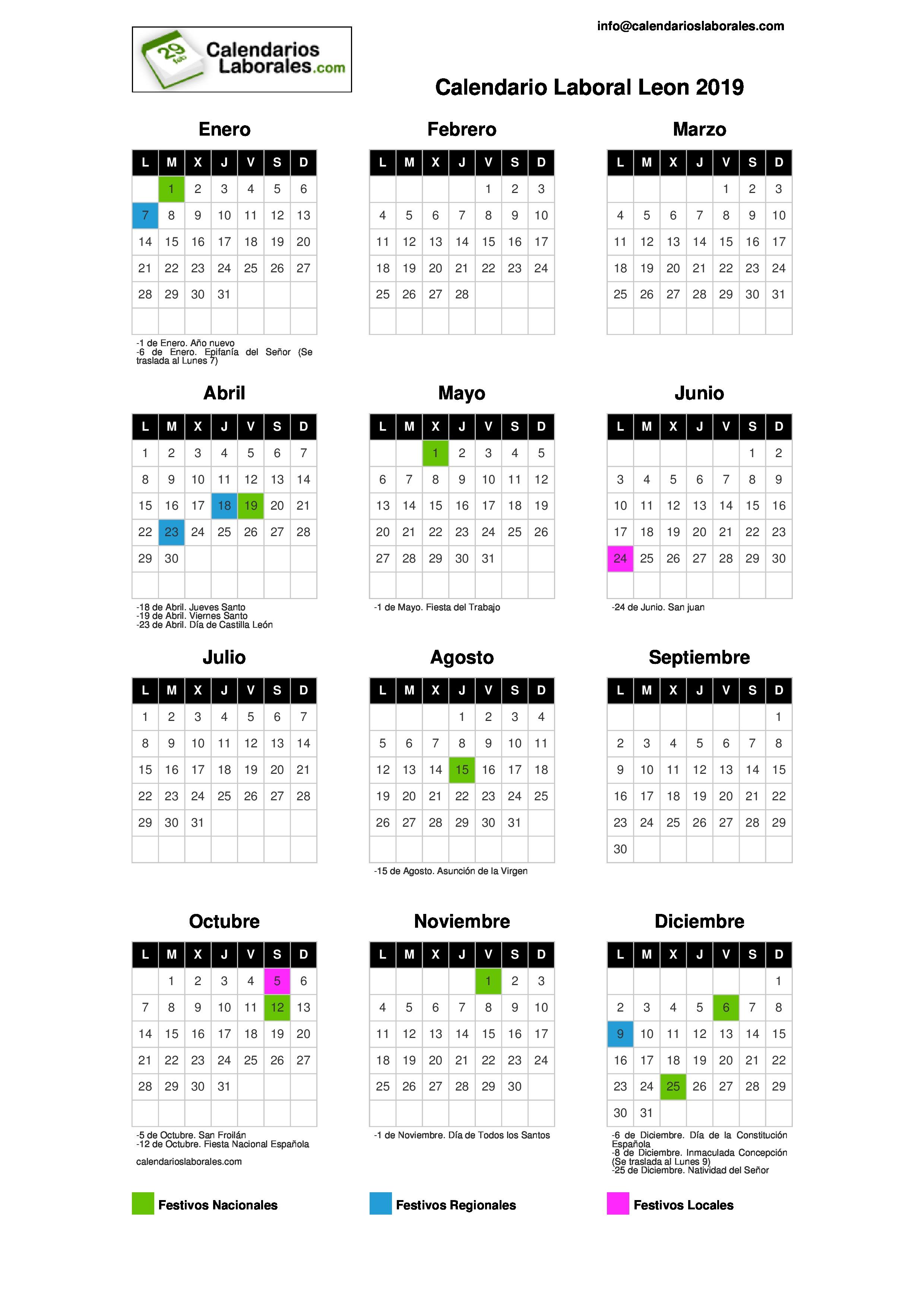 Calendario 2019 Castilla Y Leon.Calendario Laboral Leon 2019