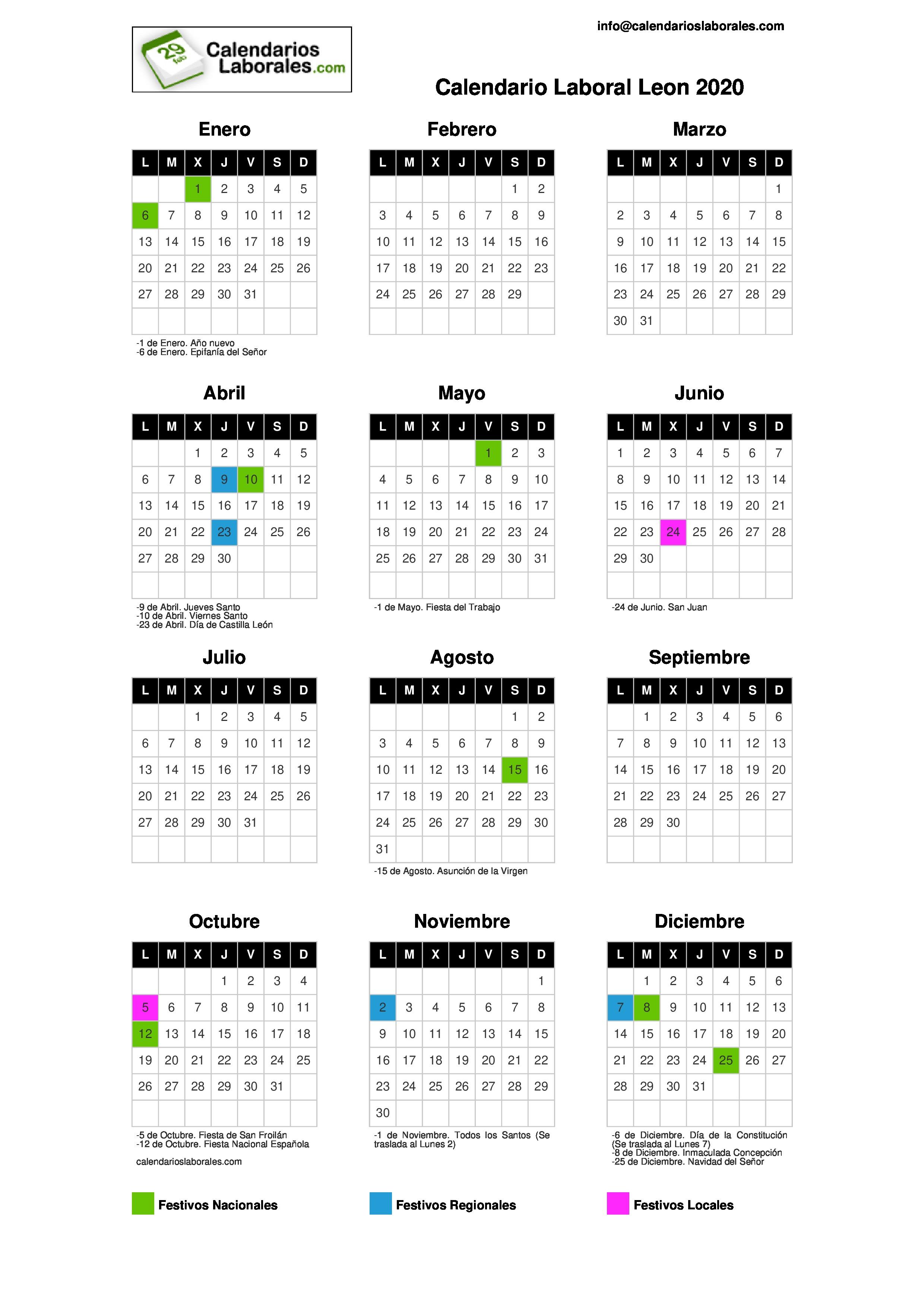 Calendario Junio Julio 2020.Calendario Laboral Leon 2020