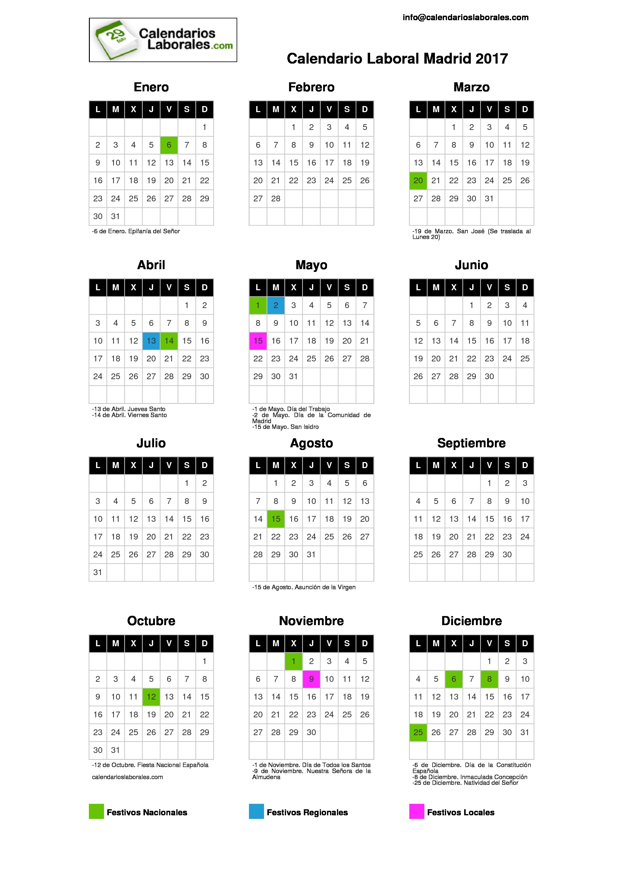 Calendario laboral madrid 2017 for Festivos asturias 2017