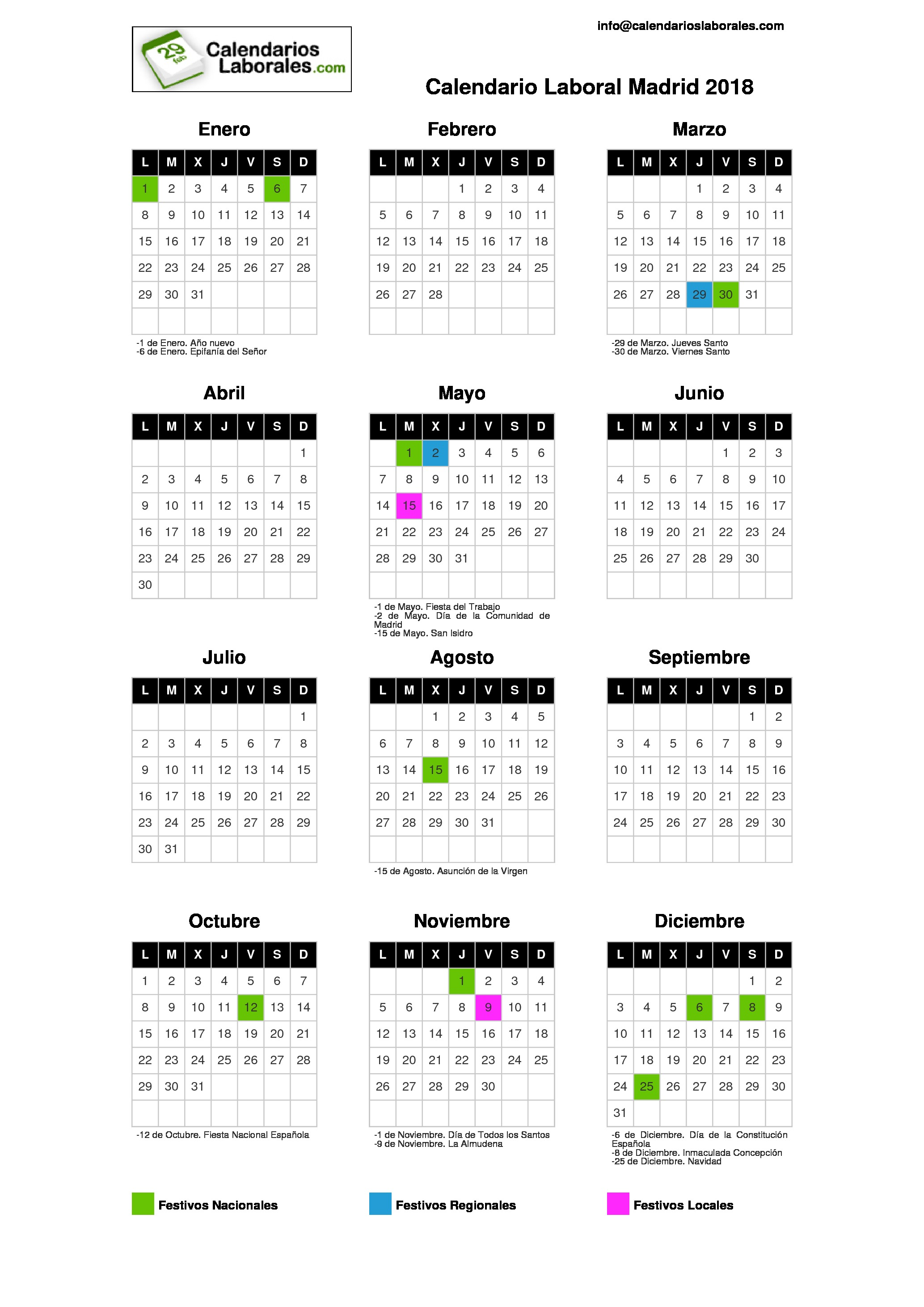 Calendario 3018.Calendario Laboral Madrid 2018