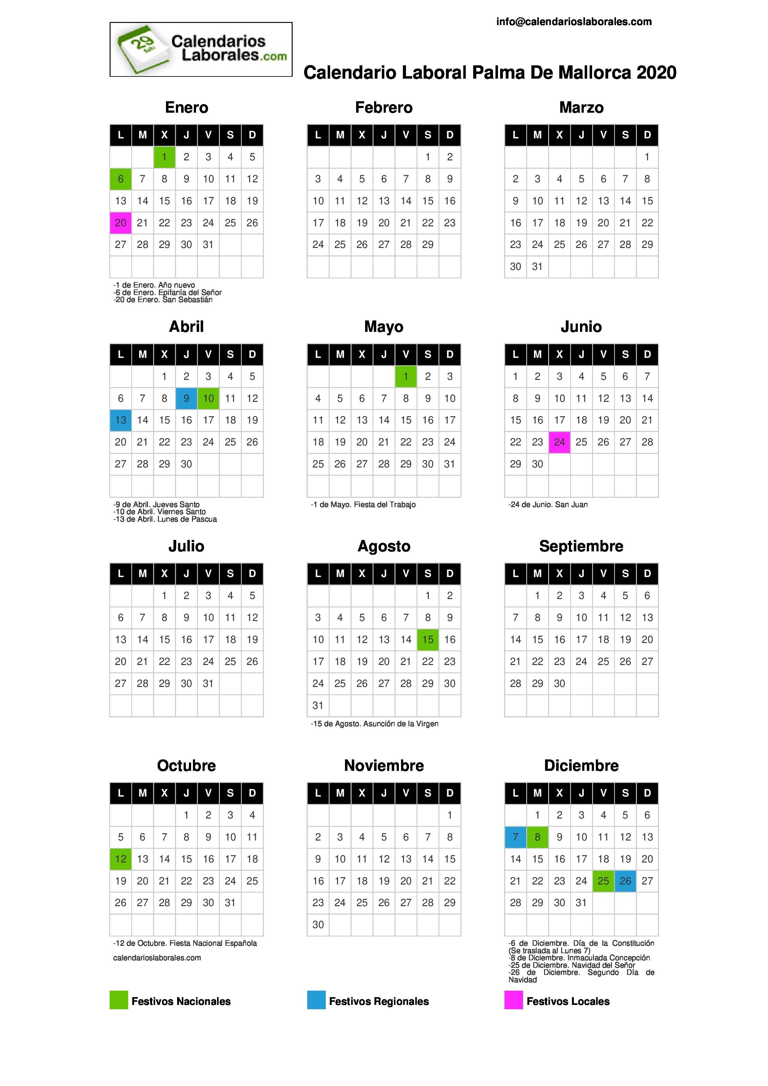 Calendario Laboral 2020 Palma De Mallorca.Calendario Laboral Palma De Mallorca 2020
