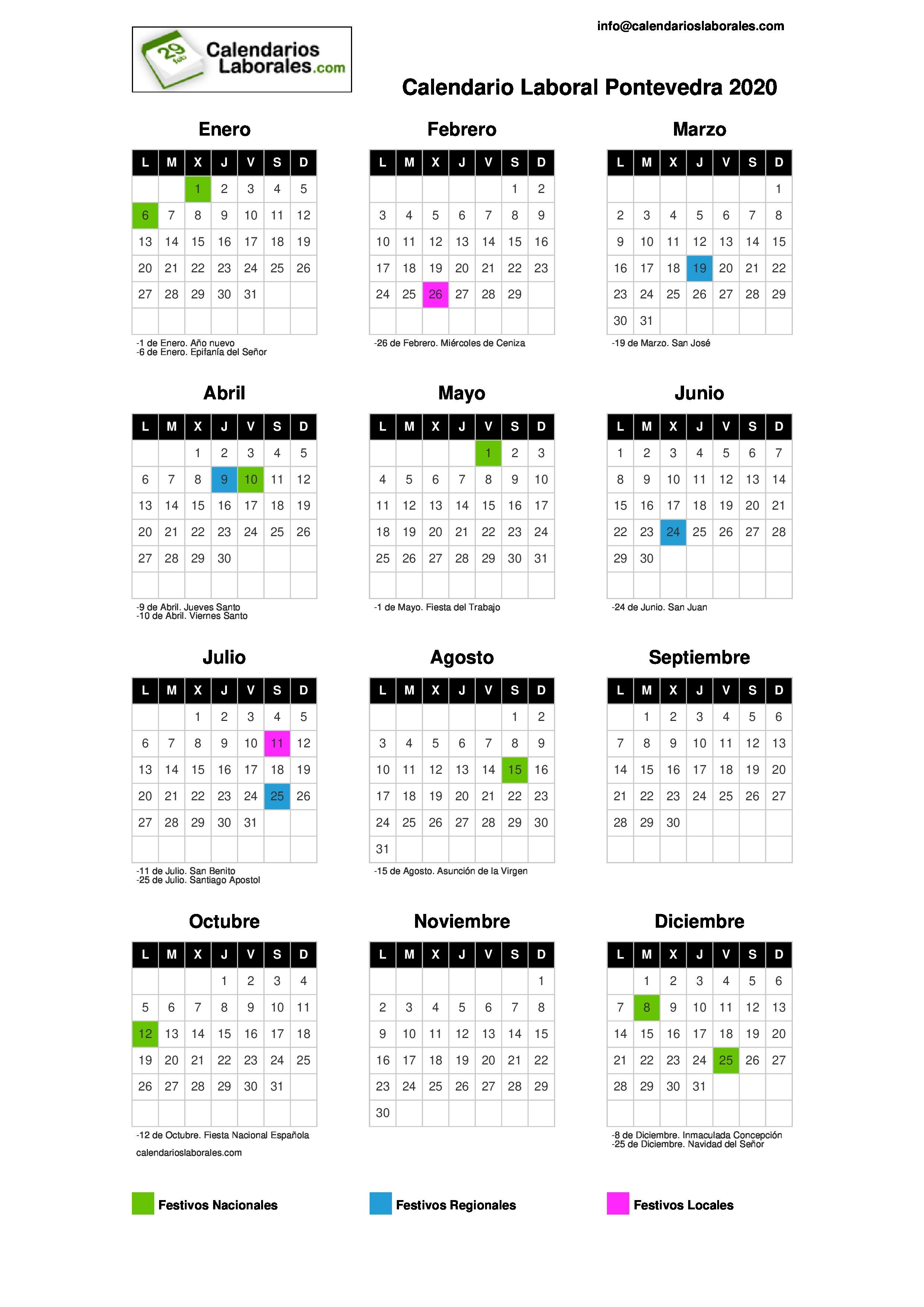 Calendario Laboral 2020 Galicia Pdf.Calendario Laboral Pontevedra 2020