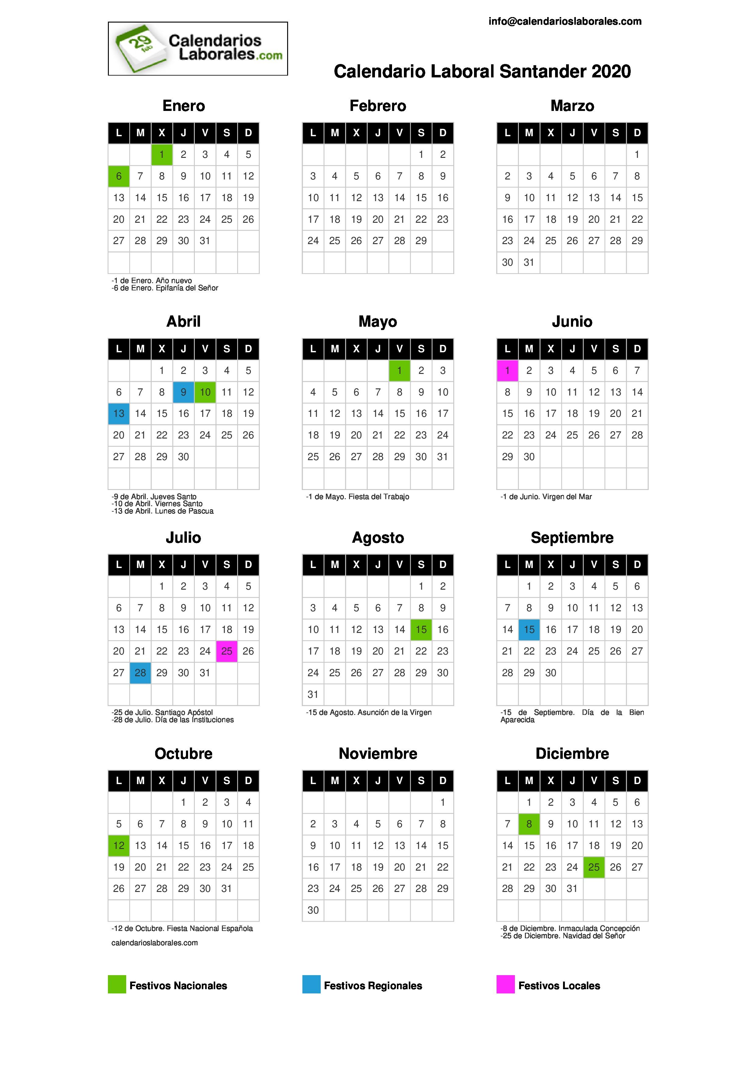Calendario Laboral Santander 2020.Calendario Laboral Santander 2020