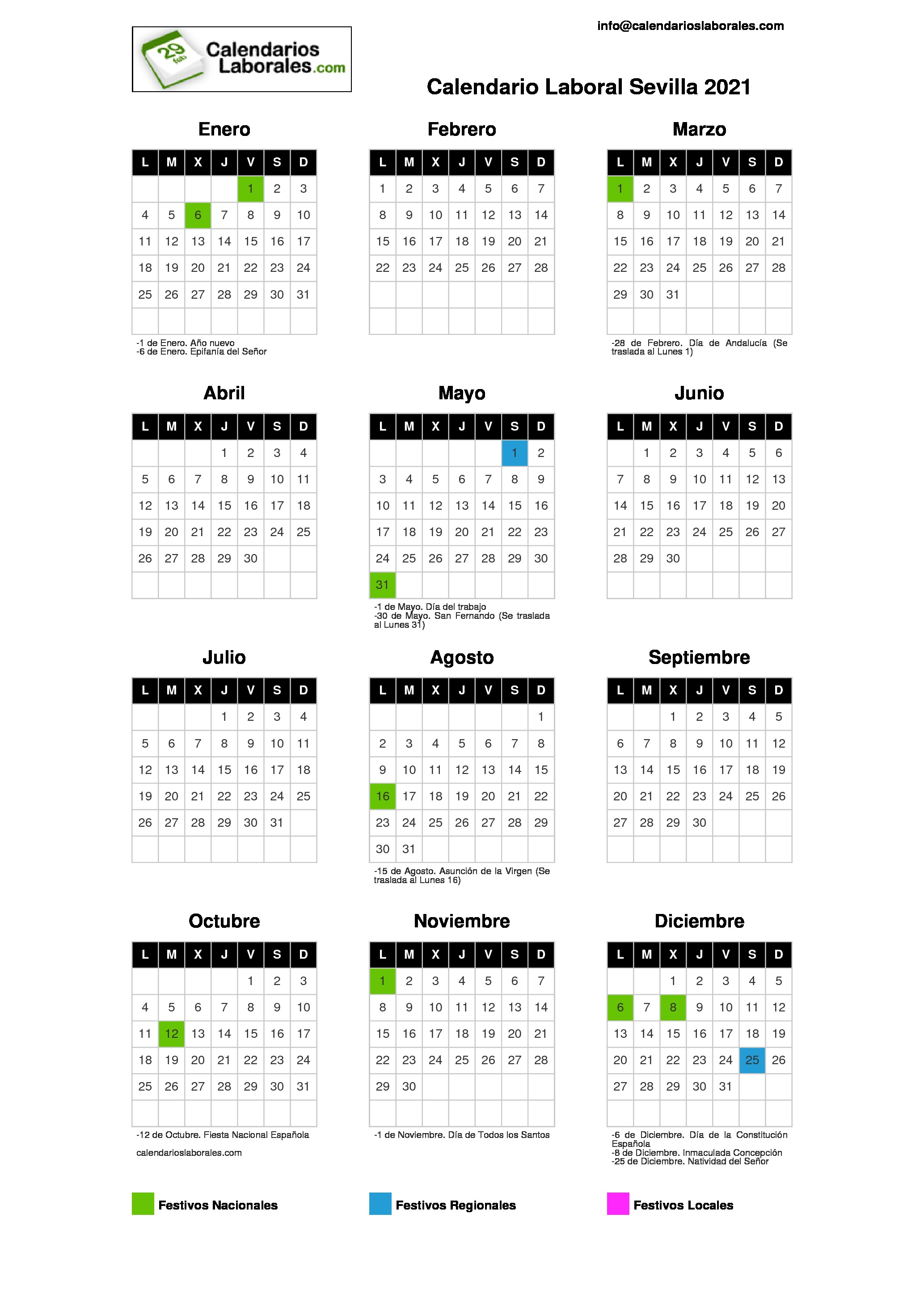 Calendario Laboral Sevilla 2021
