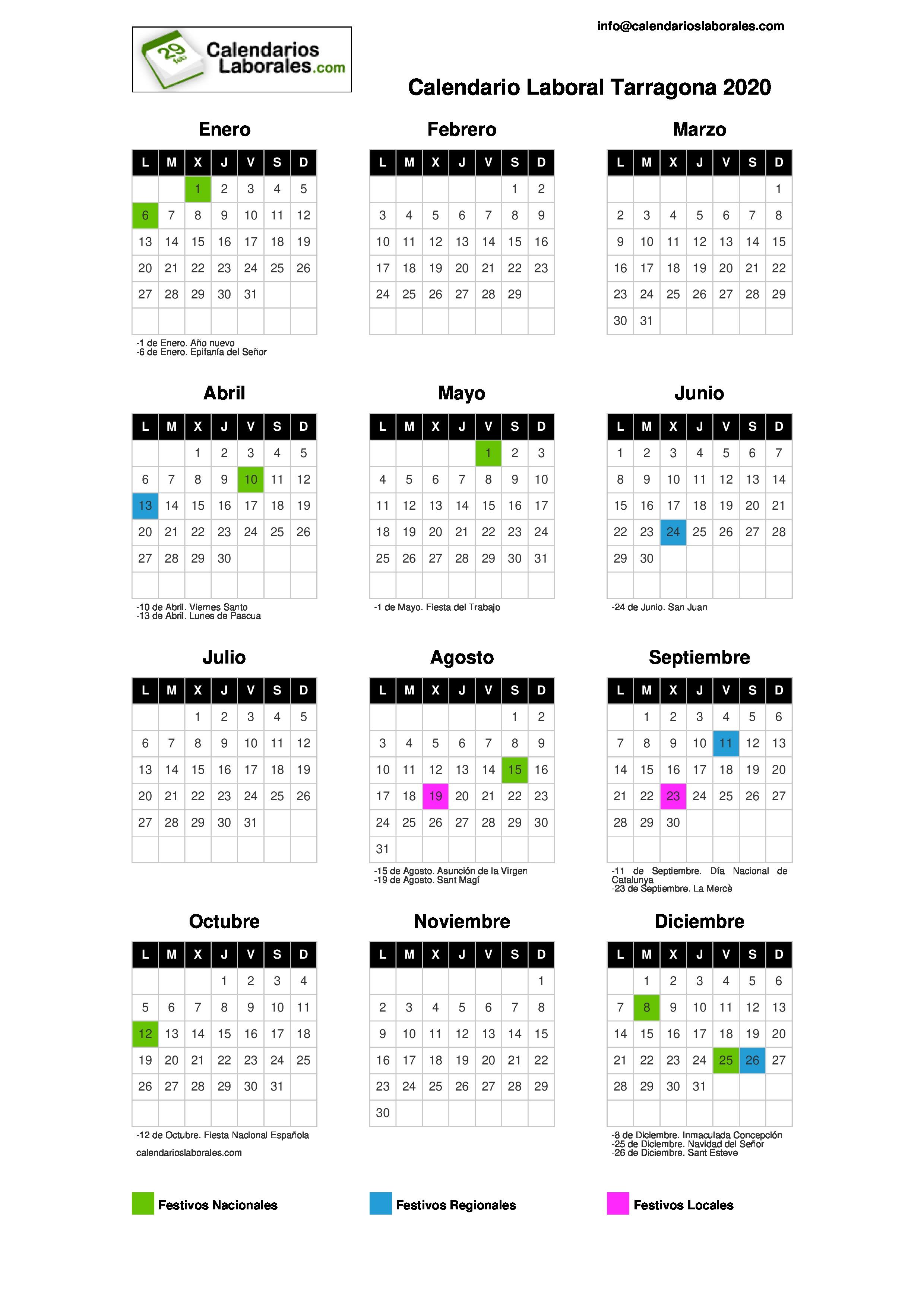 Calendario Anual 2020 Para Imprimir.Calendario Laboral Tarragona 2020