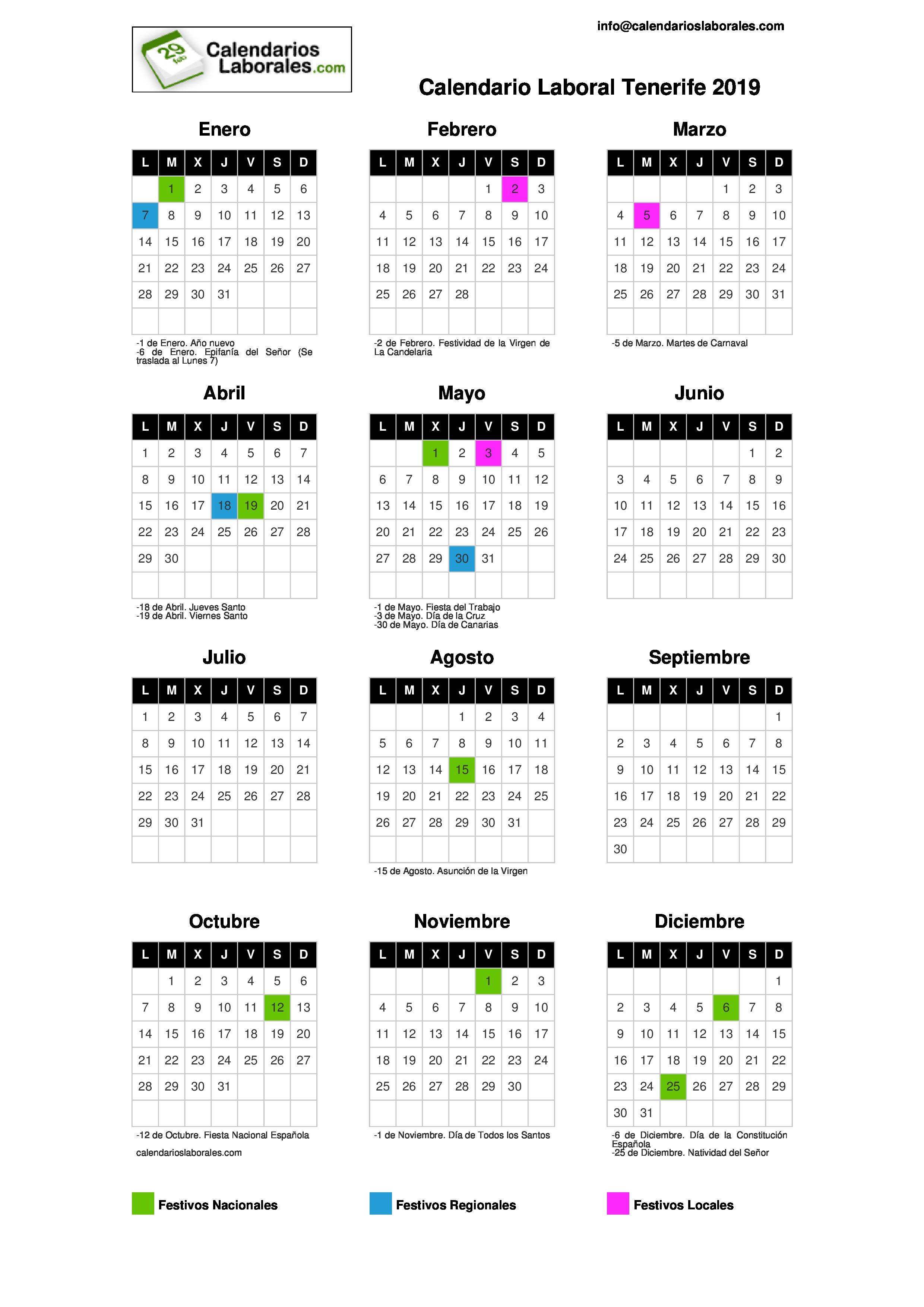 Calendario Laboral Tenerife 2019.Calendario Laboral Tenerife S C 2019