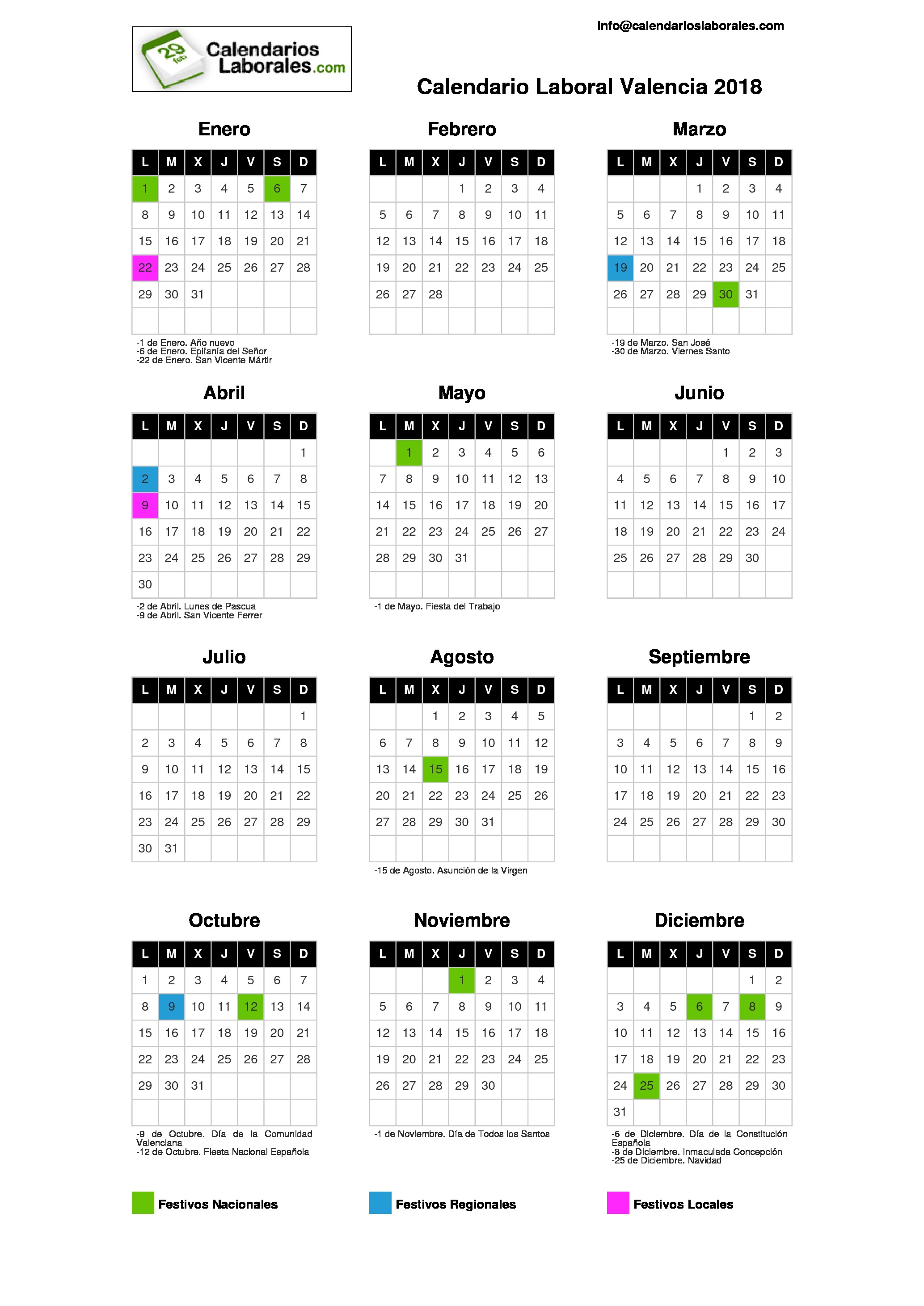 Calendario laboral valencia 2018 for Festivos asturias 2017