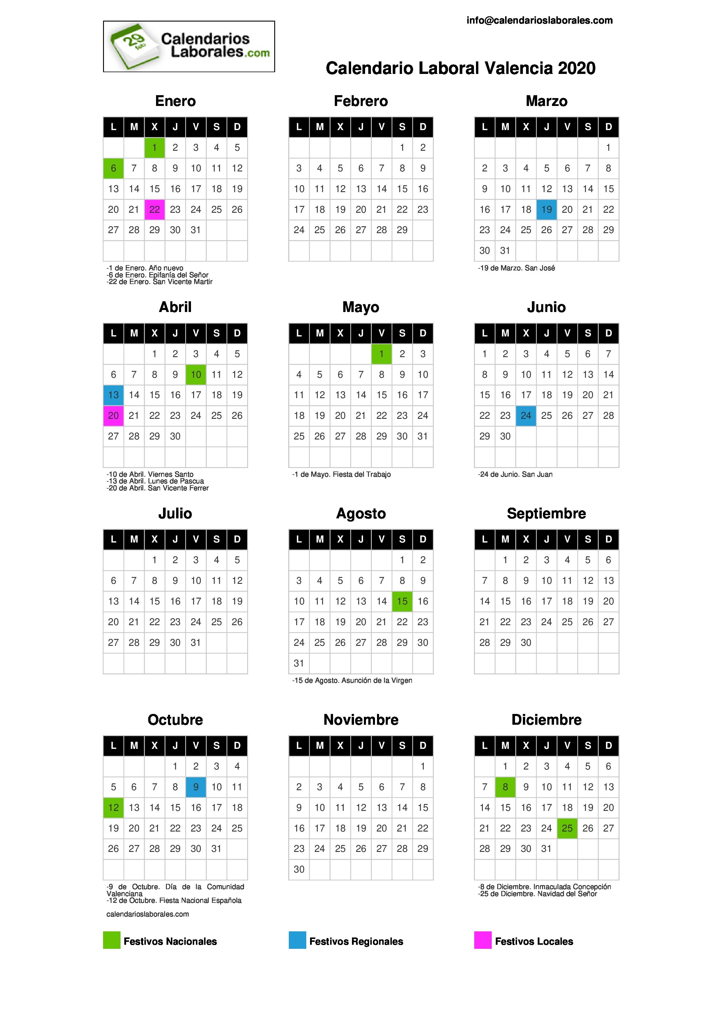 Calendario Laboral 2020 Comunidad Valenciana.Calendario Laboral Valencia 2020