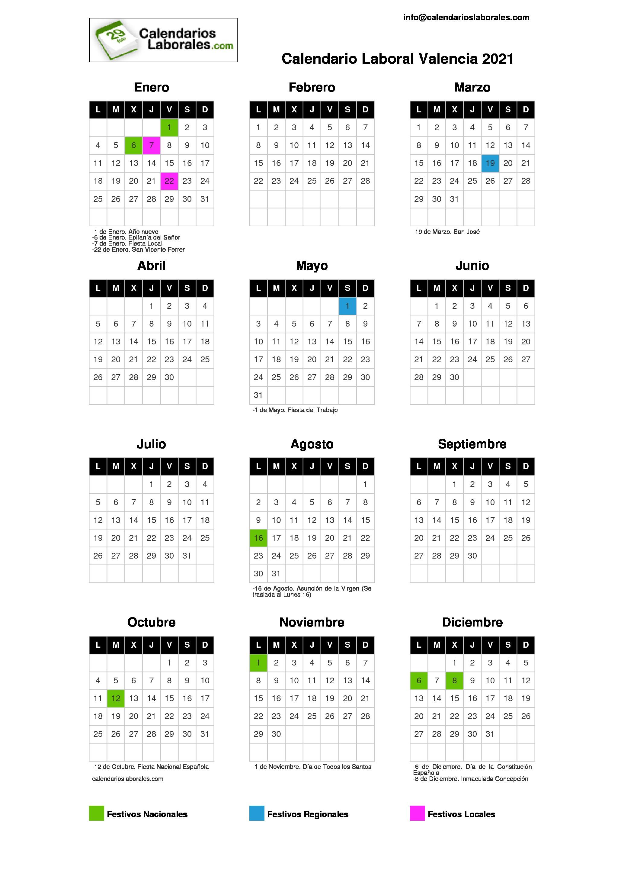 Calendario Laboral Elche.Calendario Laboral Valencia 2021