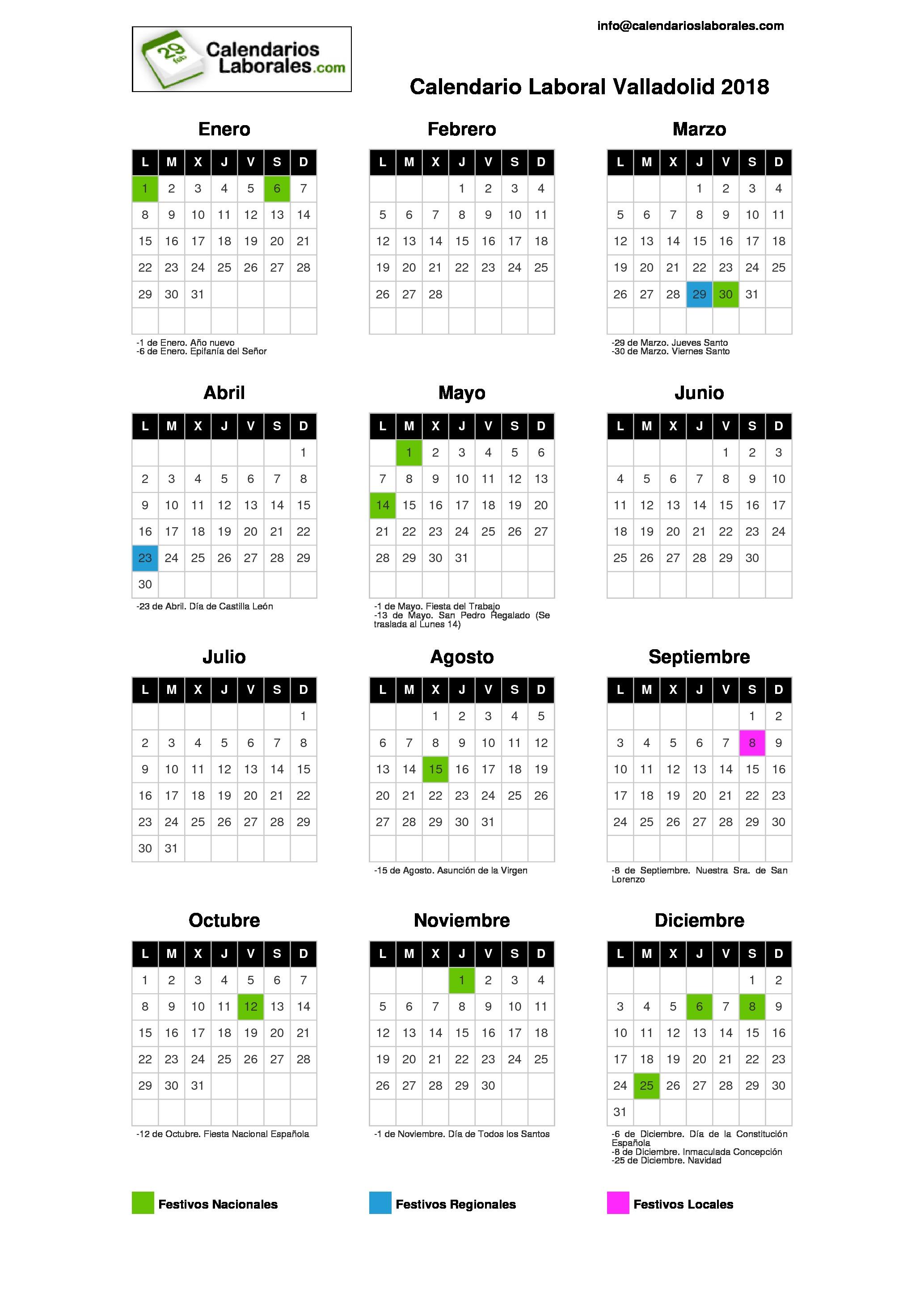 Calendario Escolar Valladolid.Calendario Laboral Valladolid 2018