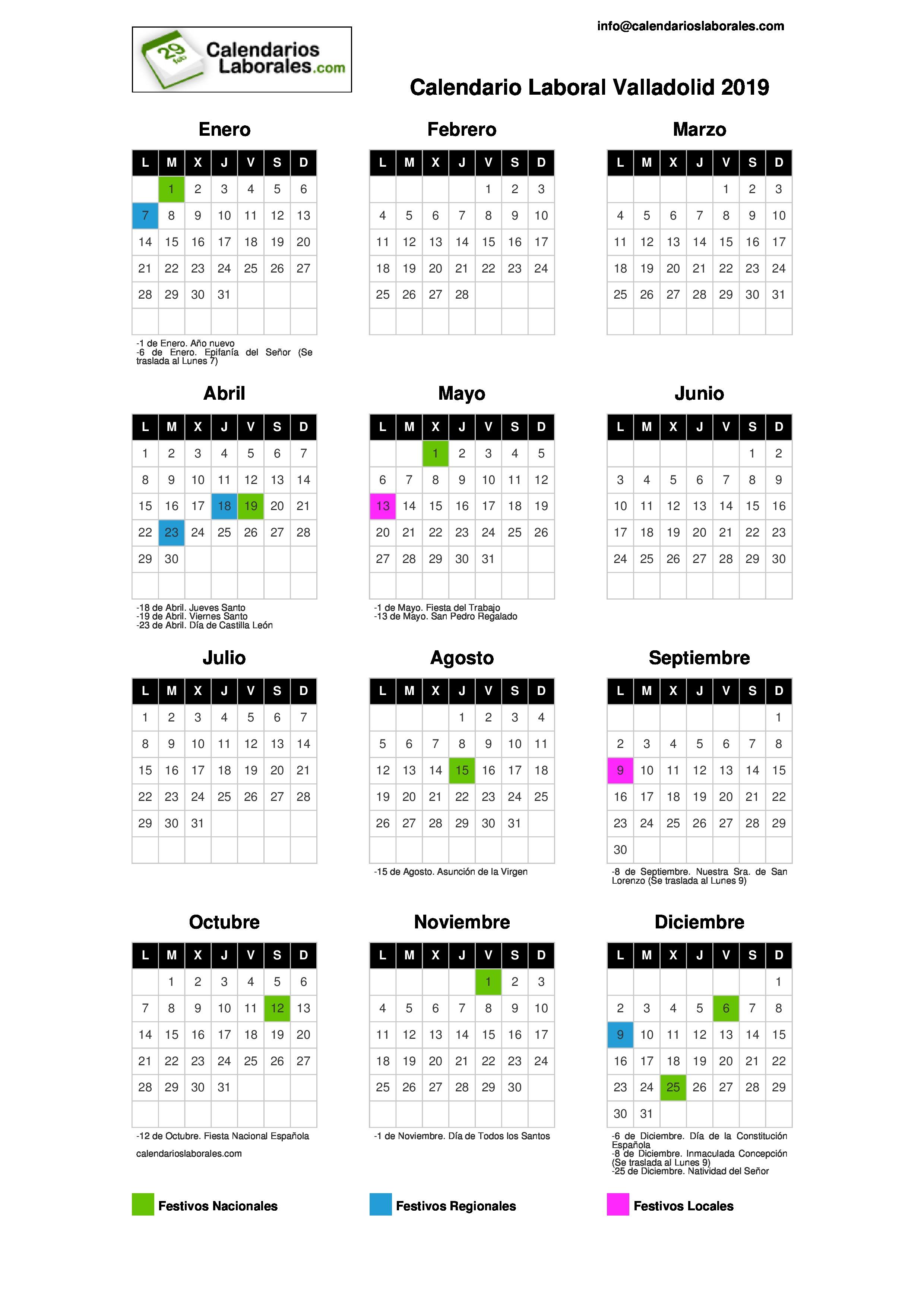 Calendario Laboral Valladolid.Calendario Laboral Valladolid 2019