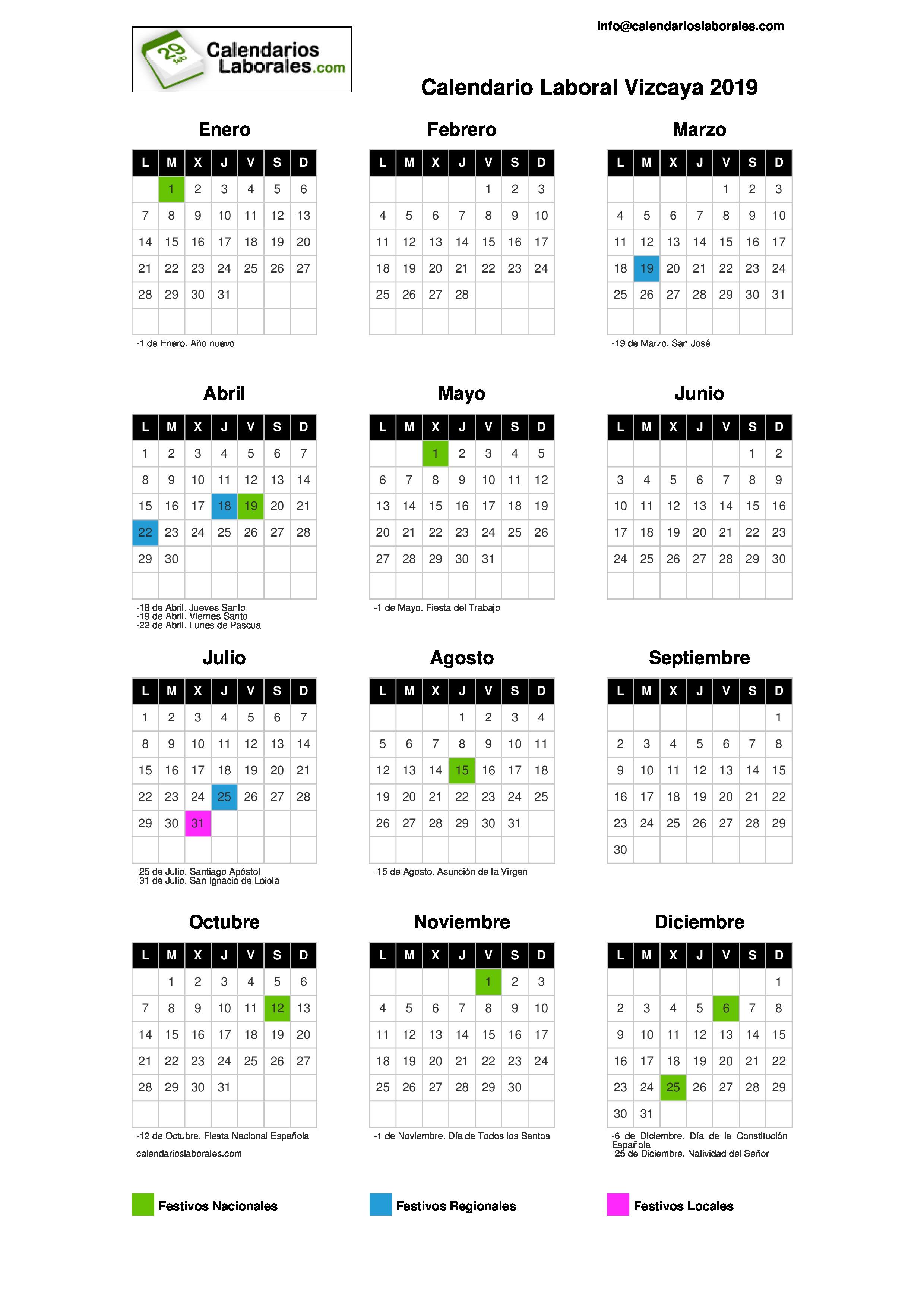 Julio Calendario.Calendario Laboral Vizcaya 2019