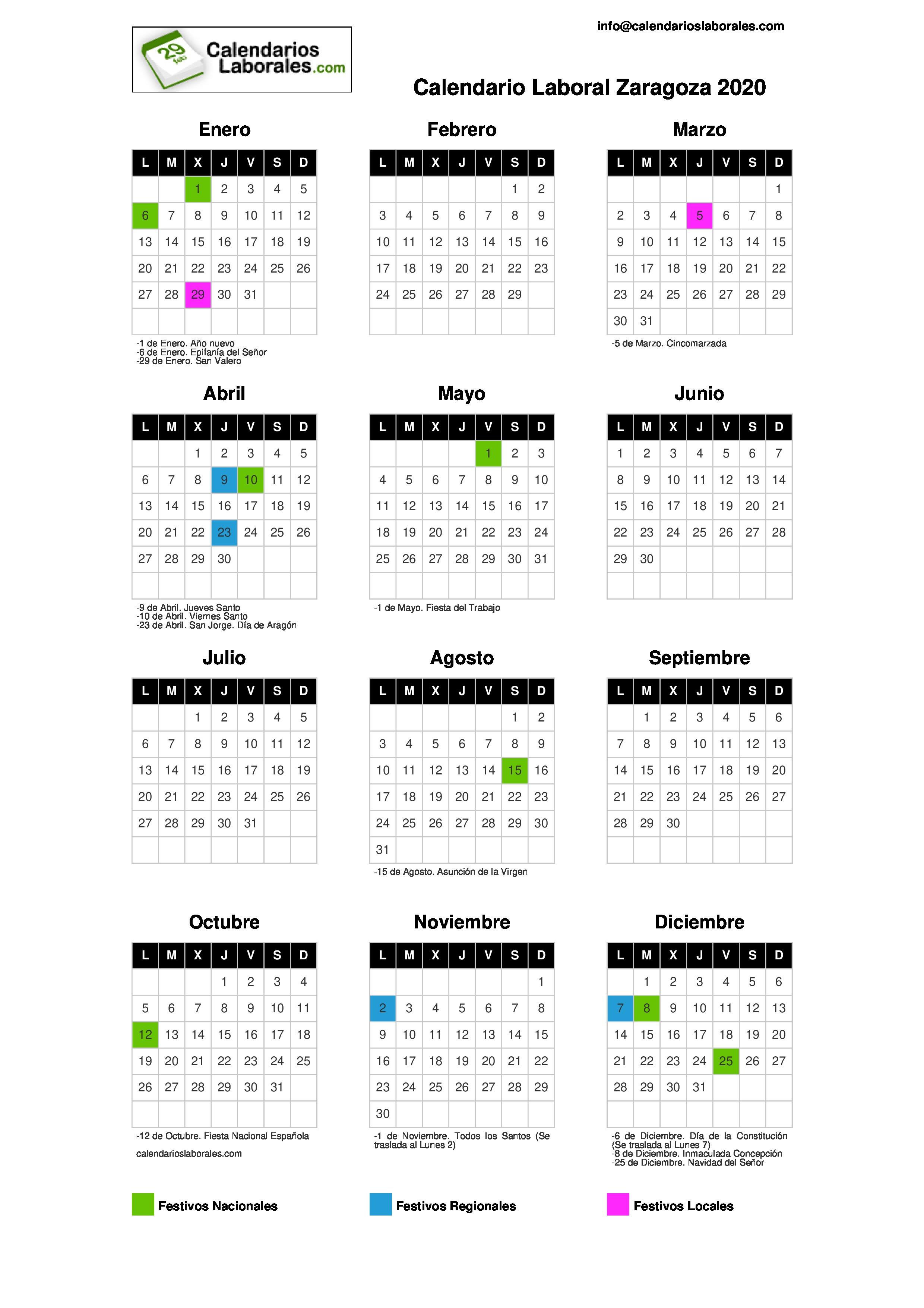 Calendario Zaragozano 2020.Calendario Laboral Zaragoza 2020